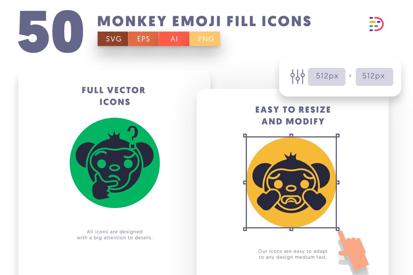Full vector 50MonkeyEmojiFill Icons
