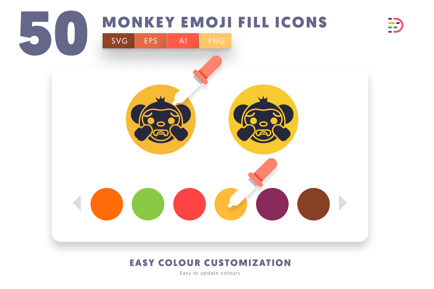 Customizable and vector 50 Monkey Emoji Fill Icons