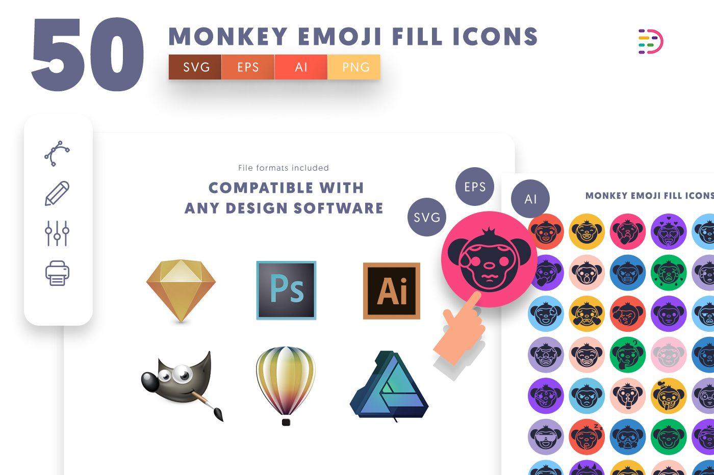full vector 50 Monkey Emoji Fill Icons EPS, SVG, PNG