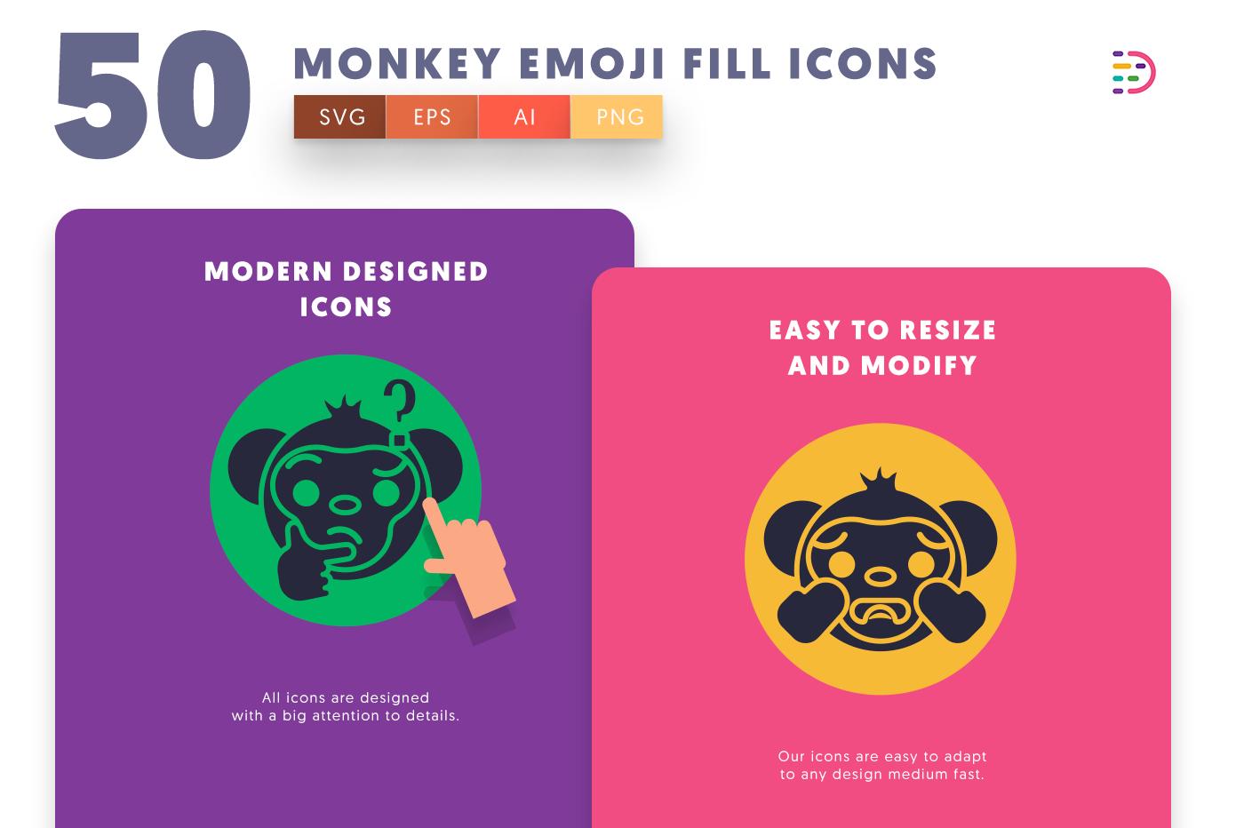 Monkey Emoji Fill icons png/svg/eps