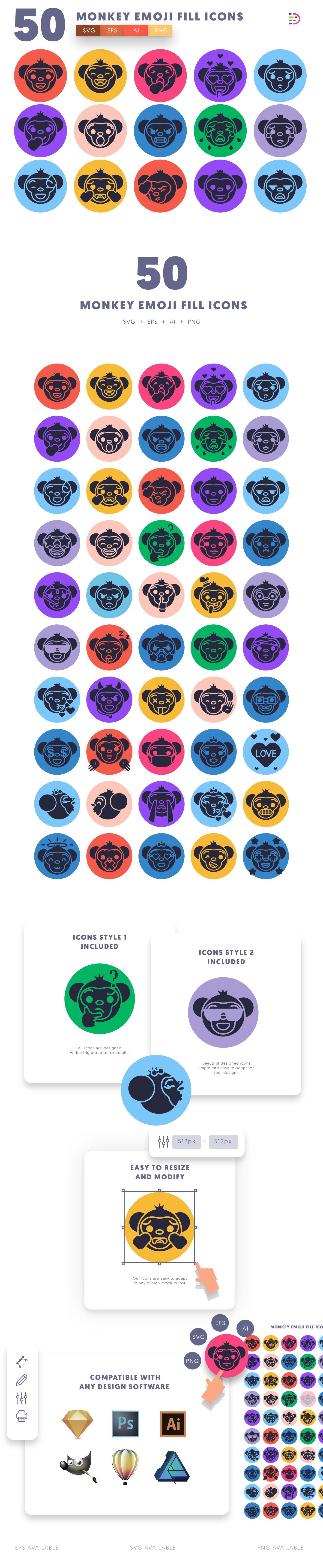 Monkey Emoji Fill icons info graphic