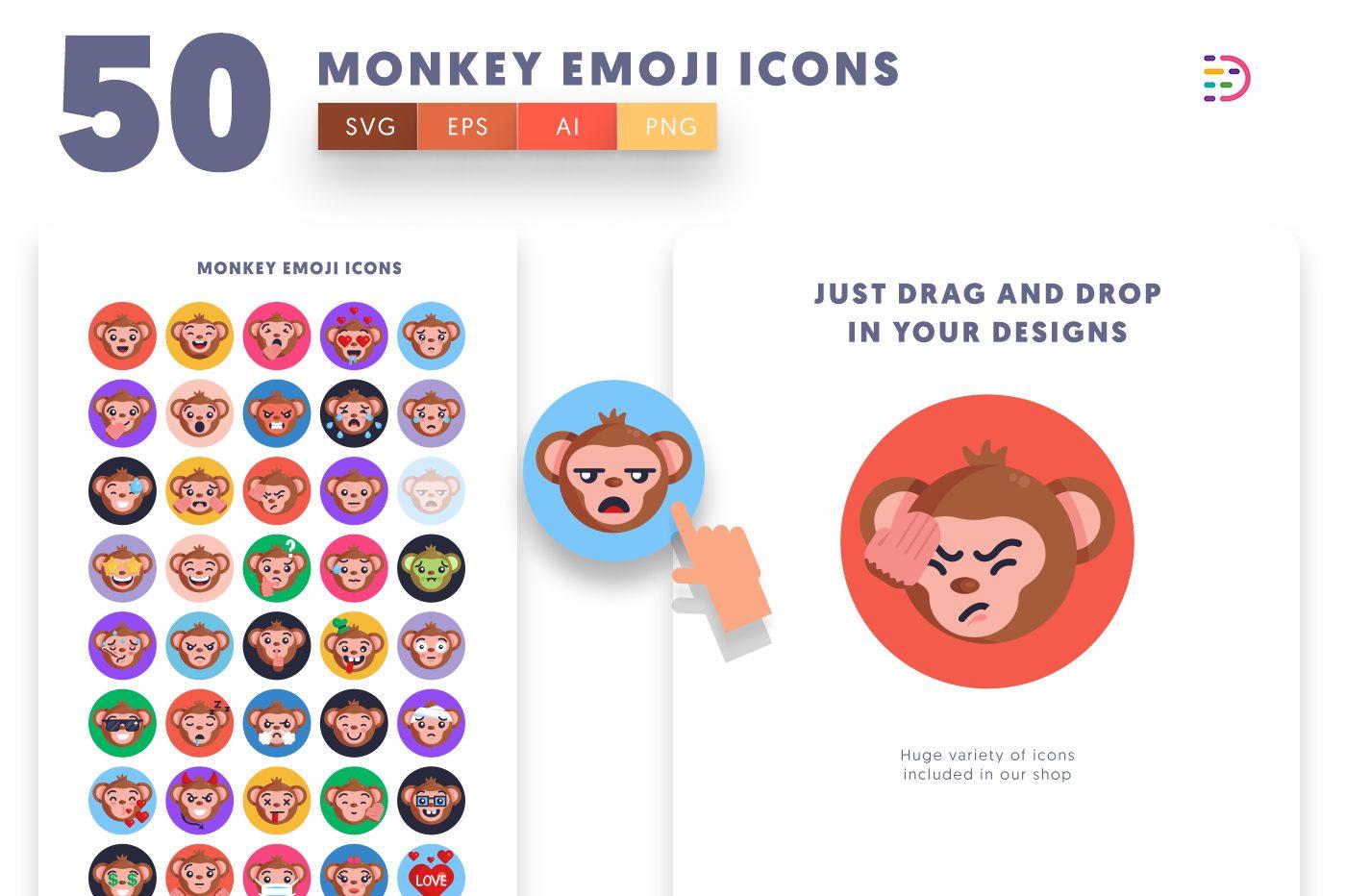 Drag and drop vector 50 Monkey Emoji Icons
