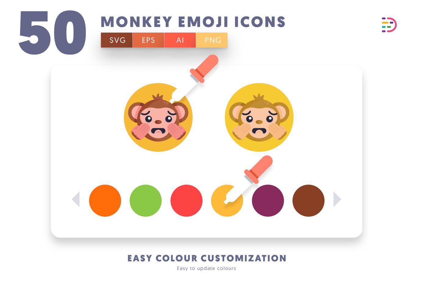Customizable and vector 50 Monkey Emoji Icons