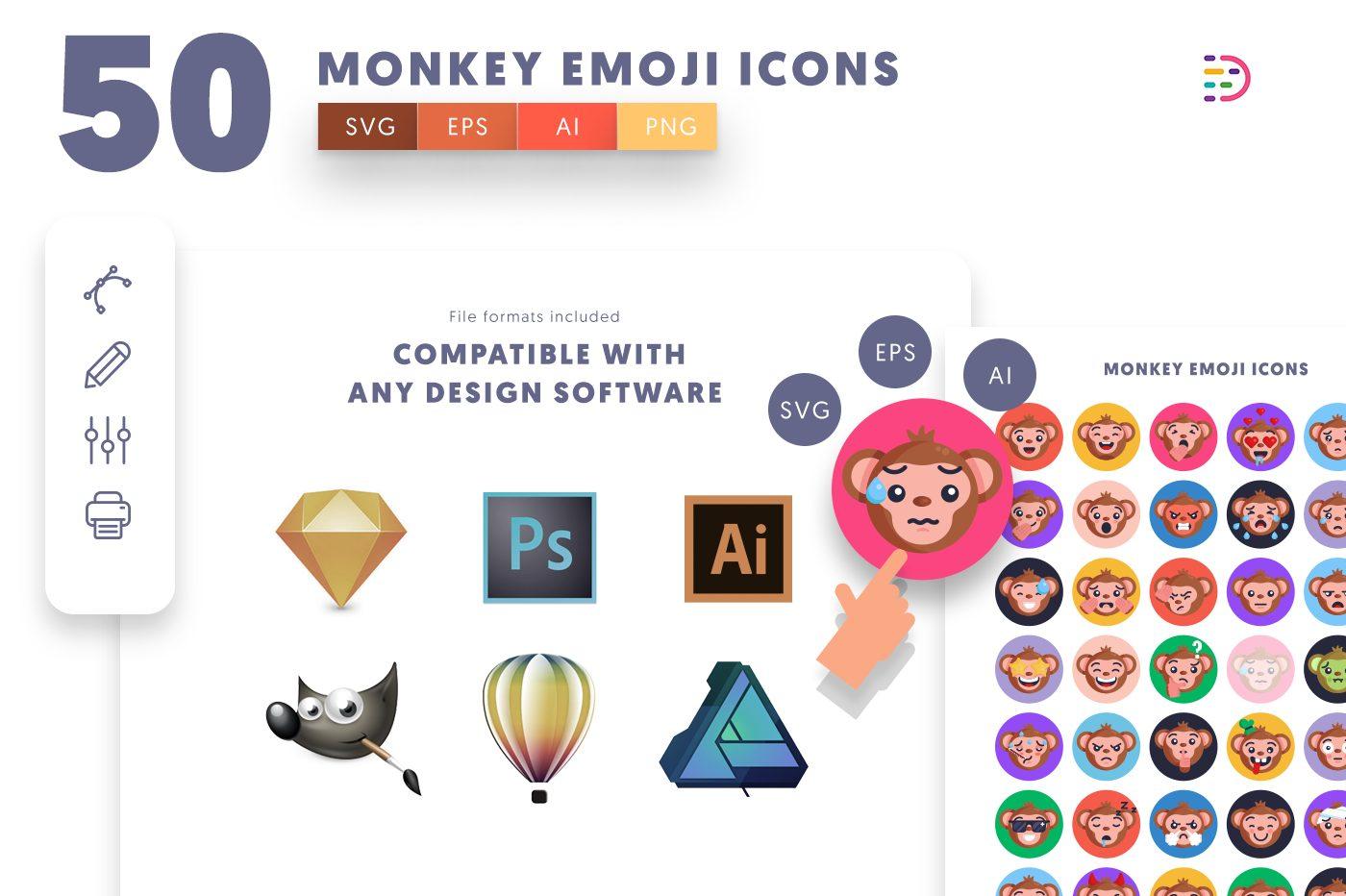 full vector 50 Monkey Emoji Icons EPS, SVG, PNG