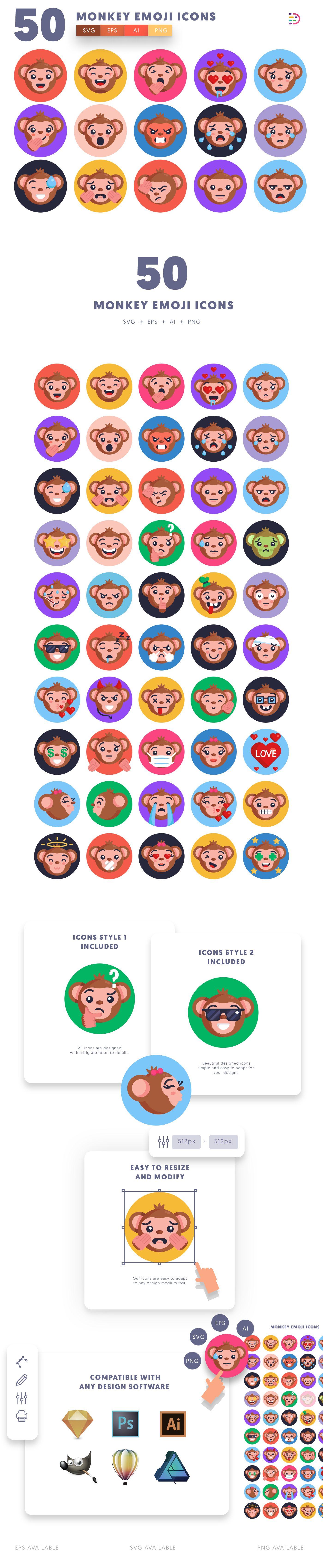 Monkey Emoji icons info graphic