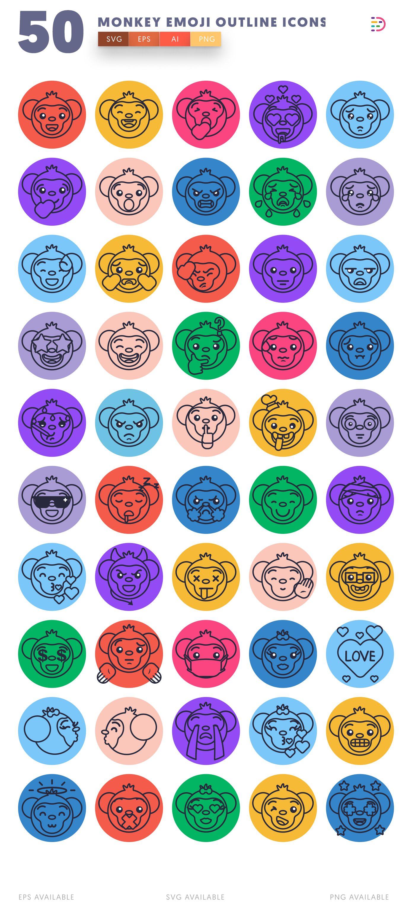 Monkey Emoji Outline icon pack
