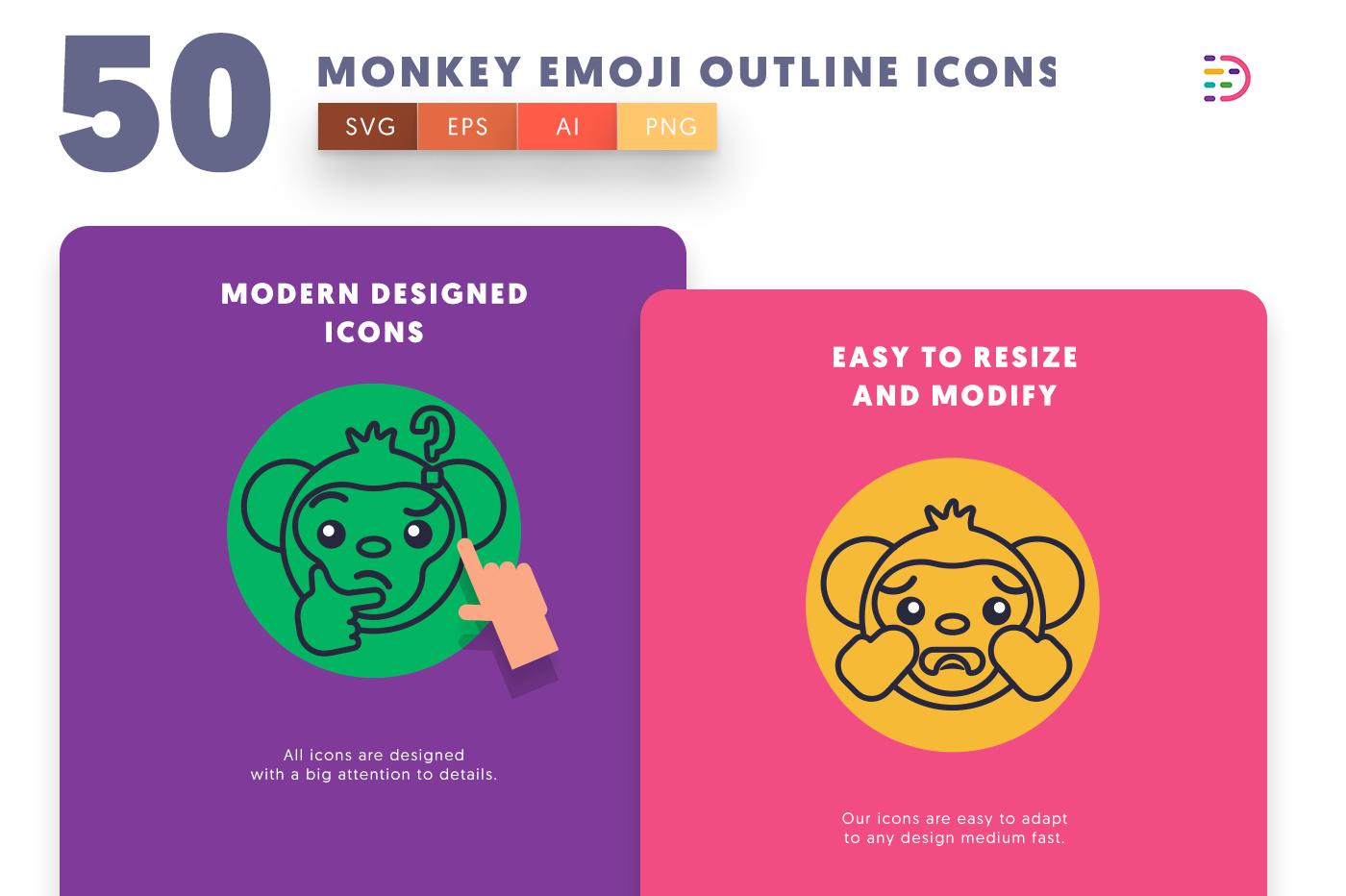Monkey Emoji Outline icons png/svg/eps
