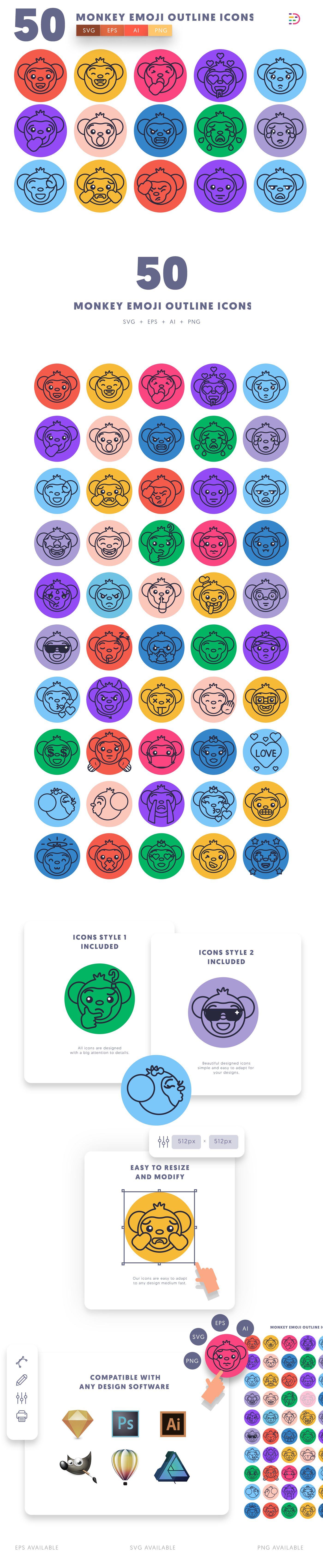 Monkey Emoji Outline icons info graphic