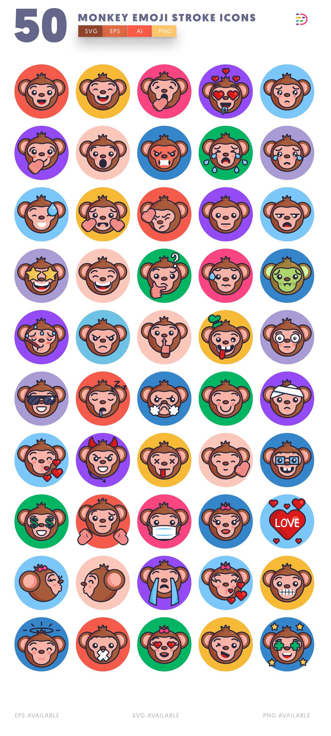 Monkey Emoji Stroke icon pack