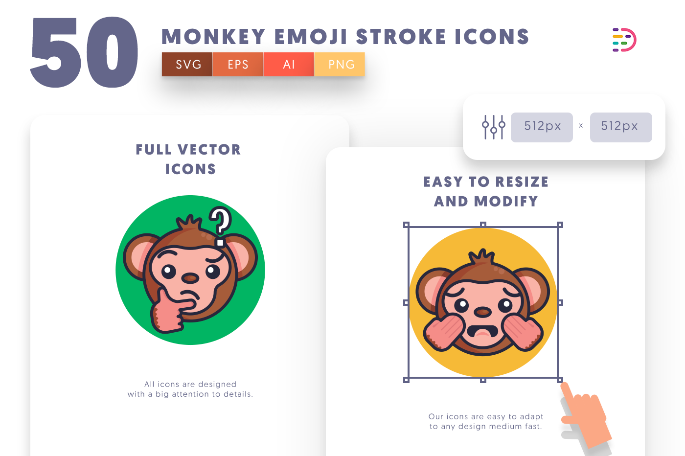 Full vector 50MonkeyEmojiStroke Icons