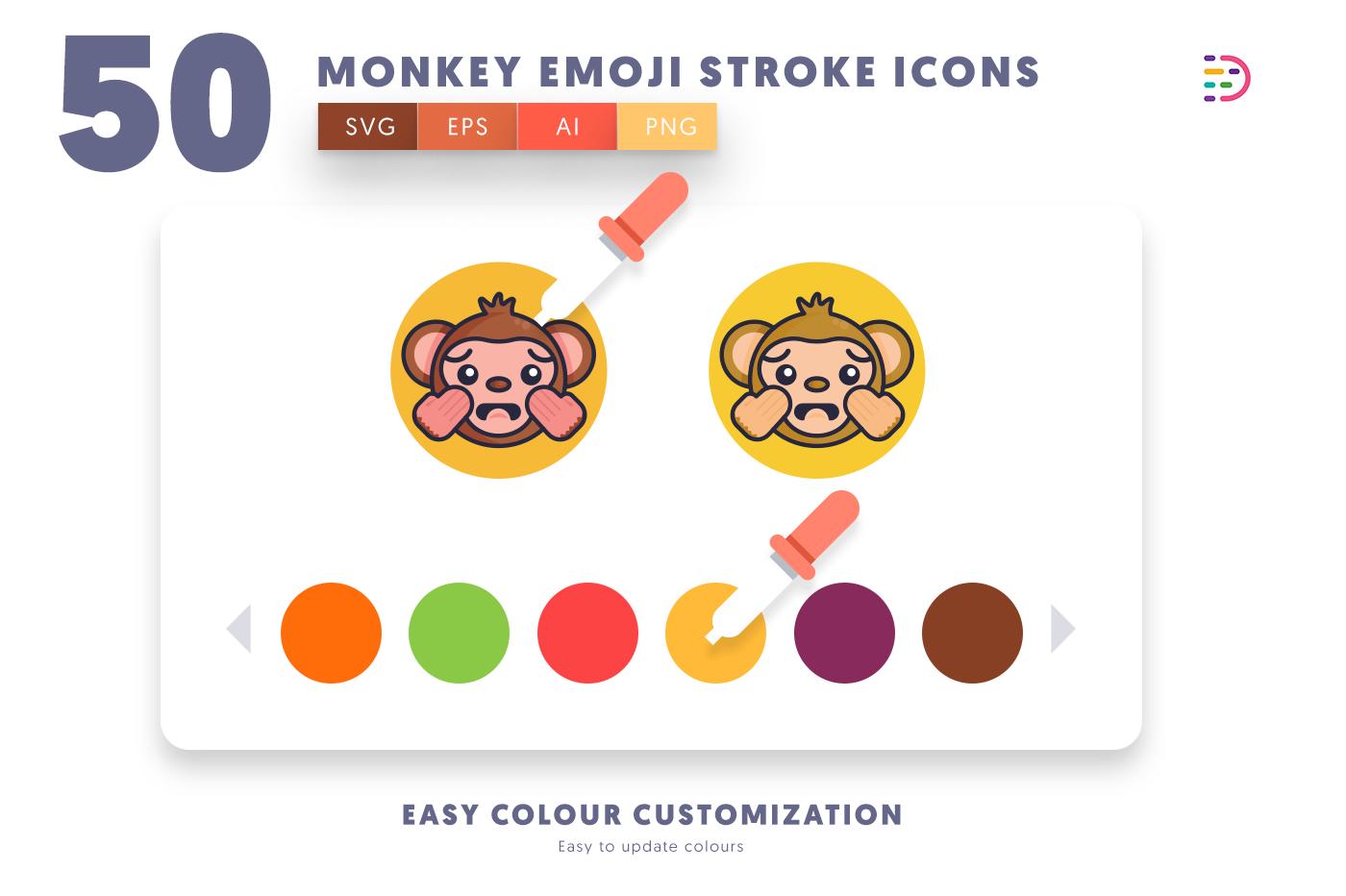 Customizable and vector 50 Monkey Emoji Stroke Icons