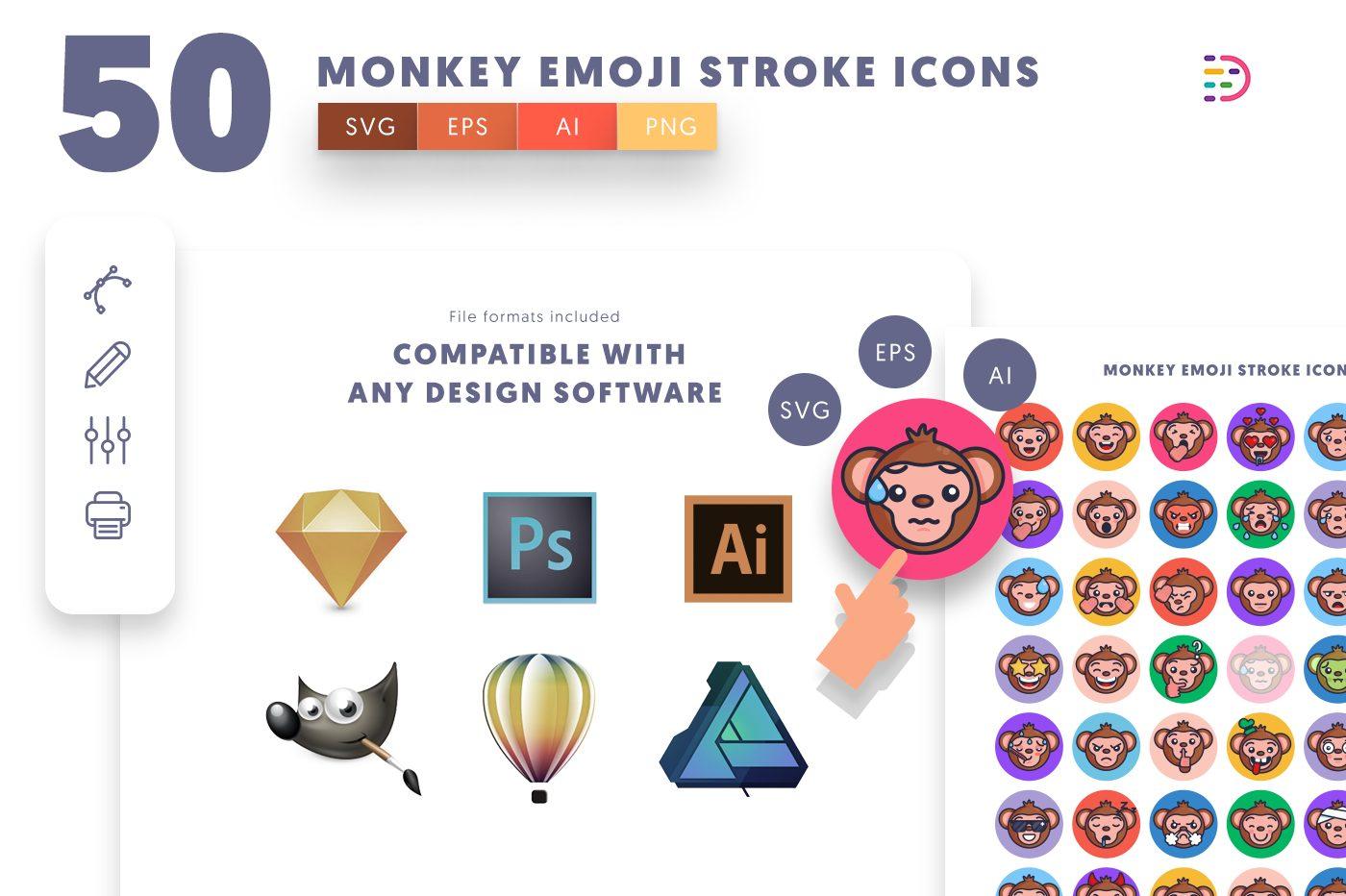 full vector 50 Monkey Emoji Stroke Icons EPS, SVG, PNG