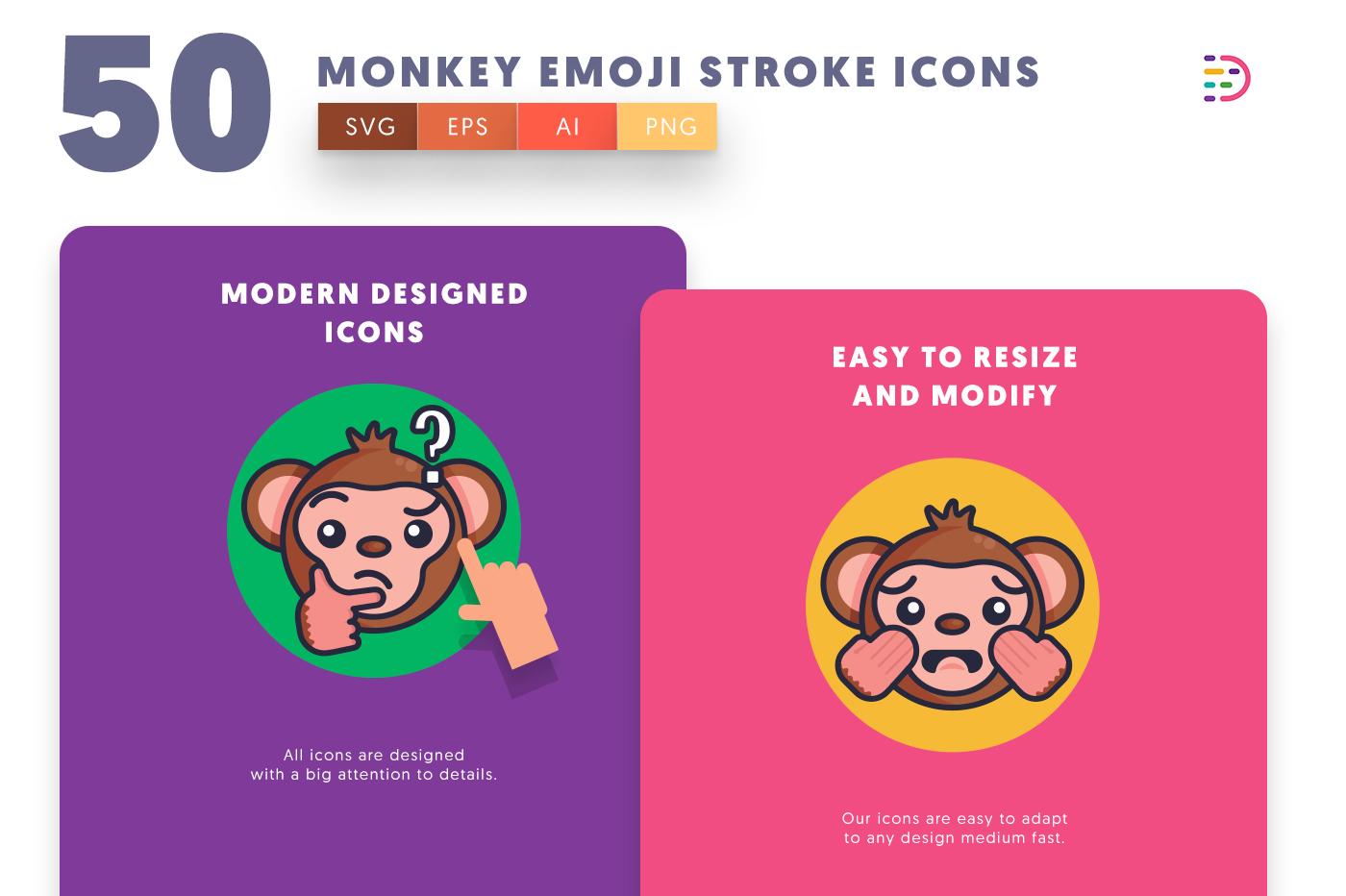 Monkey Emoji Stroke icons png/svg/eps