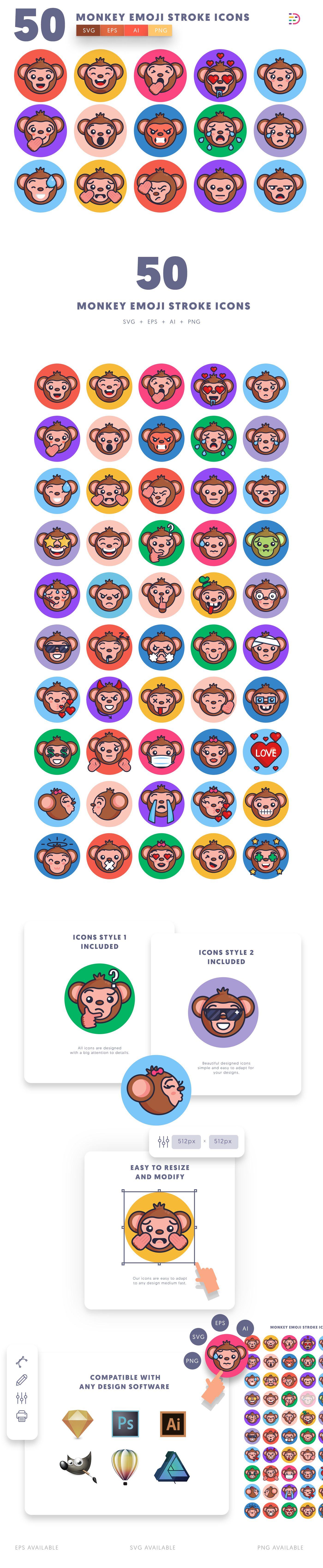 Monkey Emoji Stroke icons info graphic