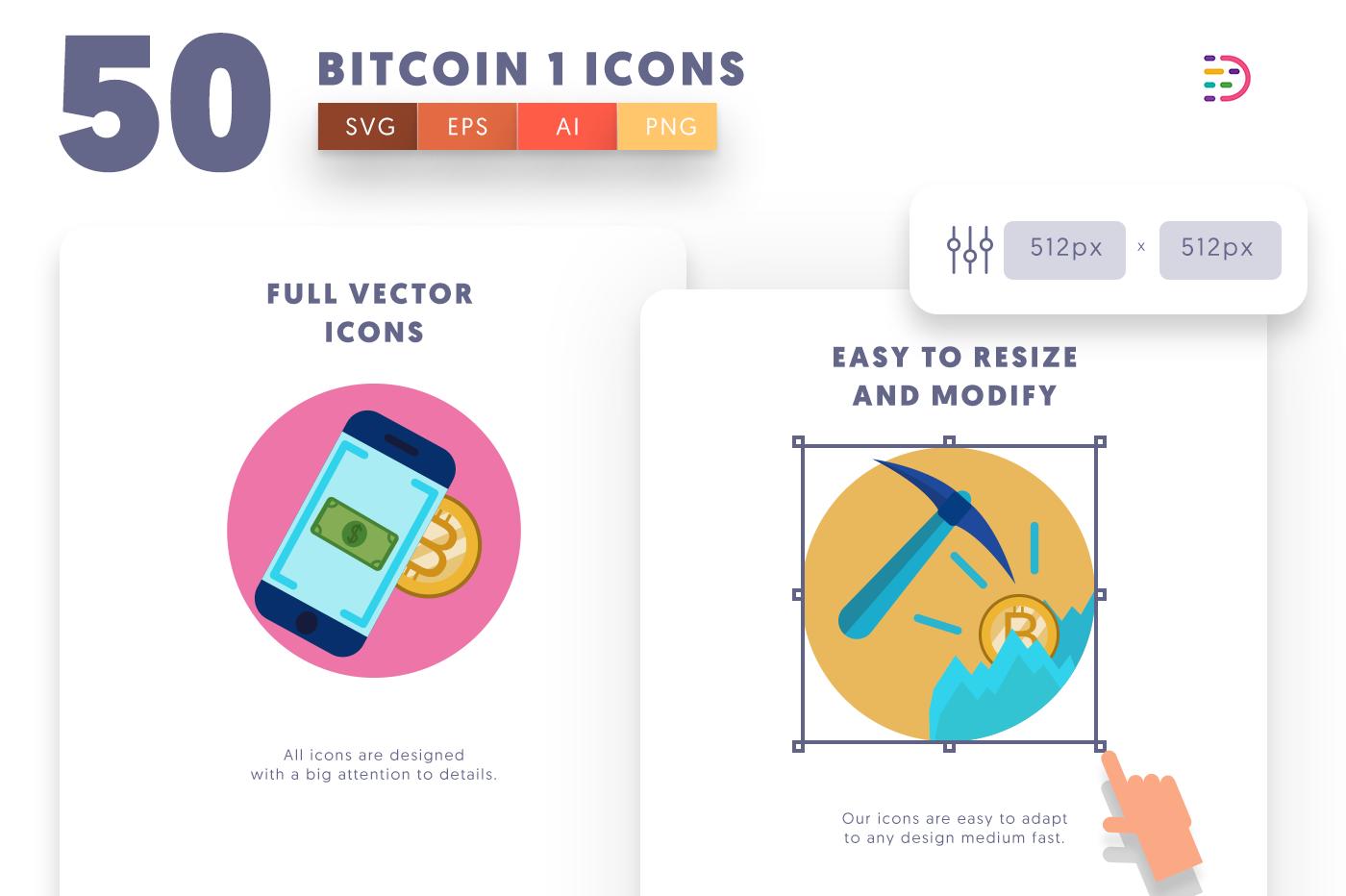 Full vector 50Bitcoin1 Icons