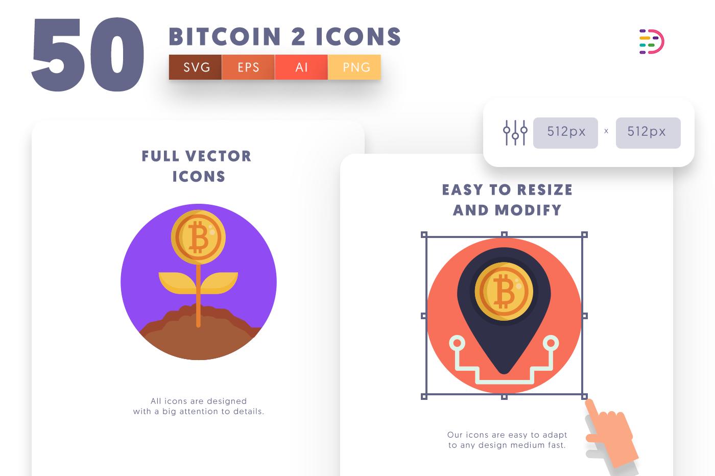 Full vector 50Bitcoin2 Icons