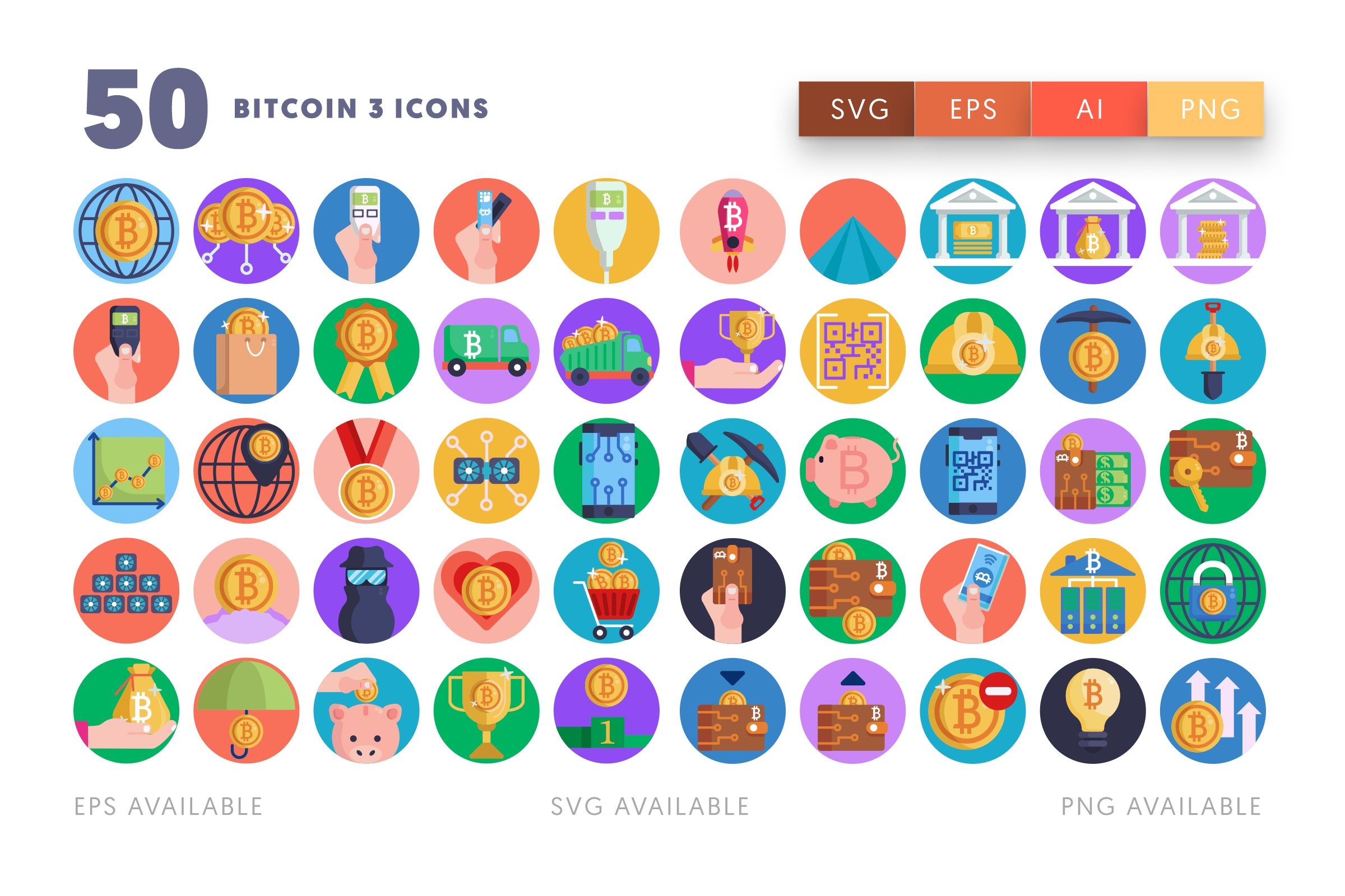 Bitcoin 3 icons png/svg/eps