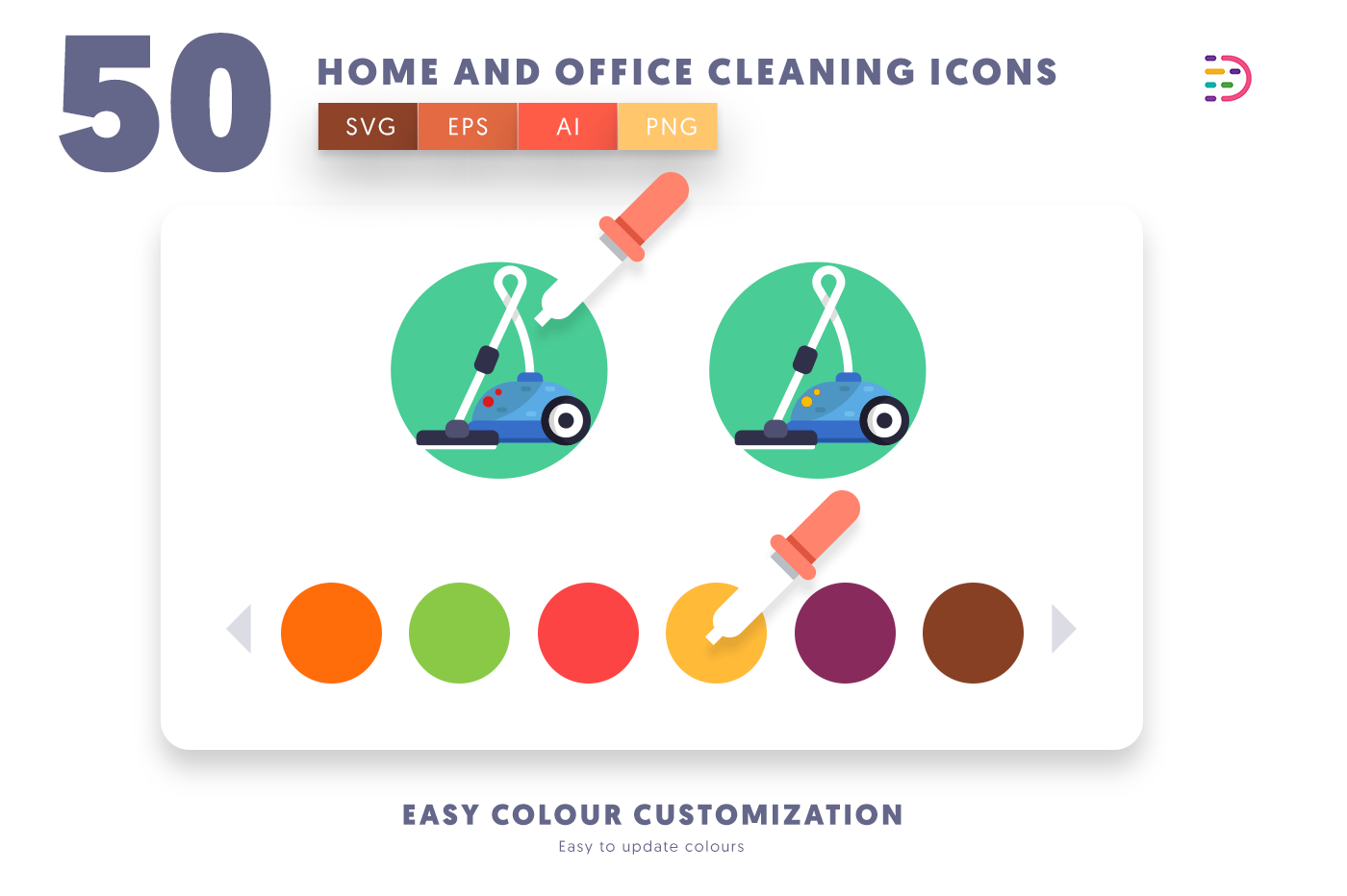 Customizable and vector 50 Home and Office Cleaning Icons