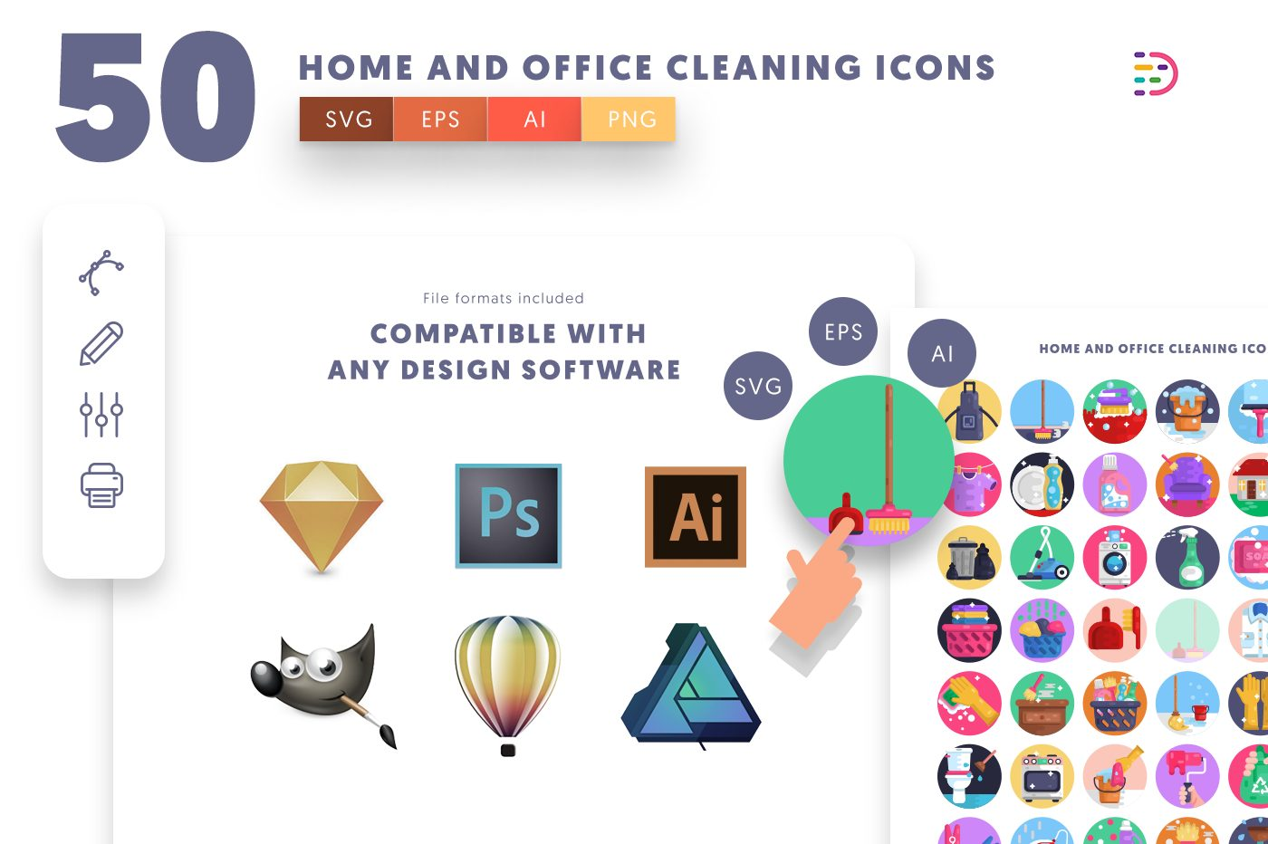 full vector 50 Home and Office Cleaning Icons EPS, SVG, PNG