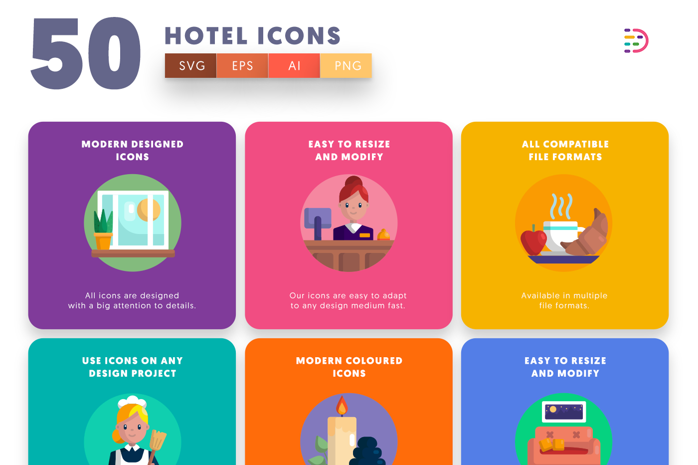 50 Hotel Icons with colored backgrounds