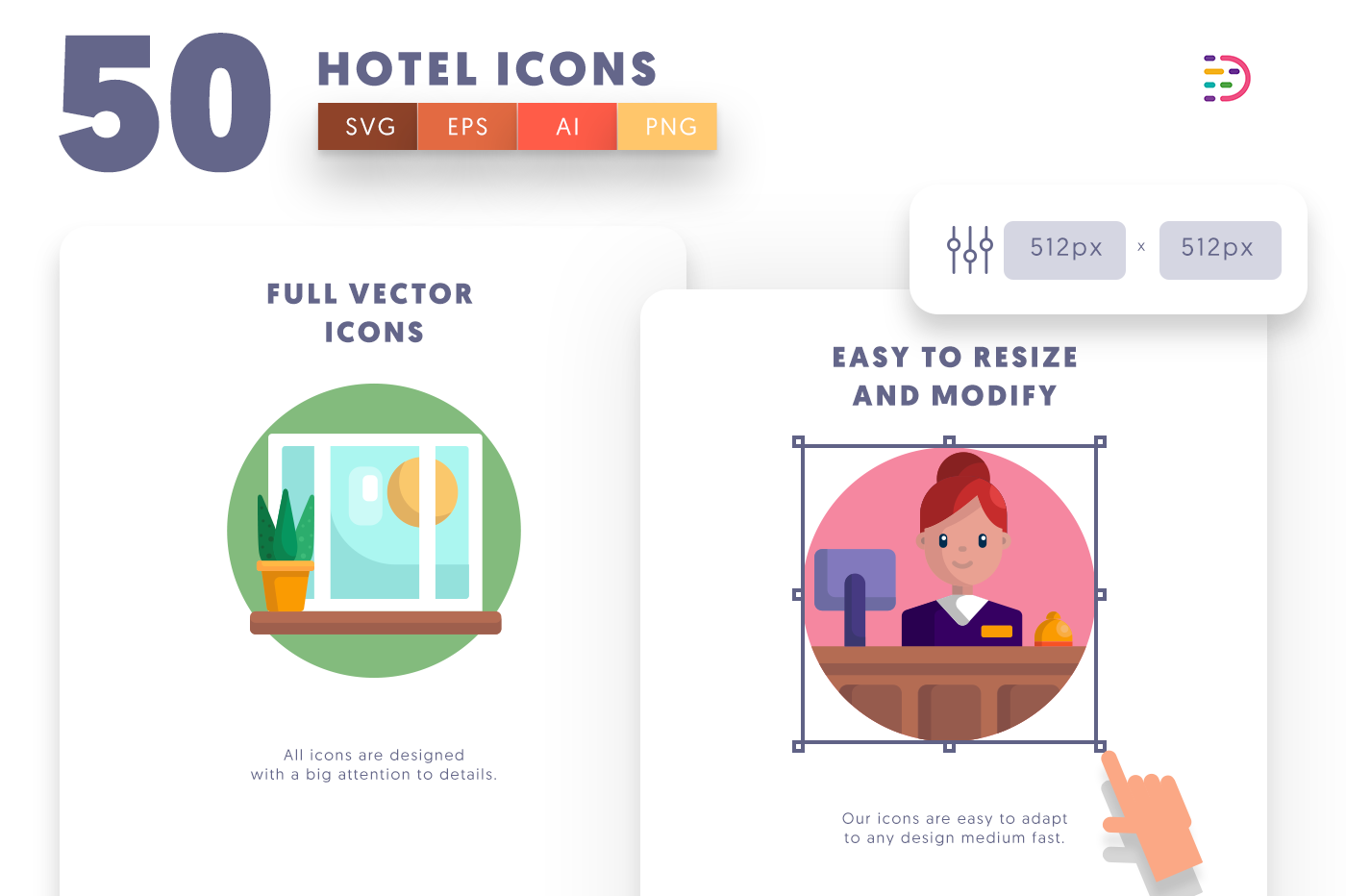 Full vector 50Hotel Icons