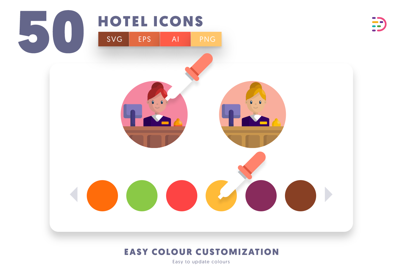 Customizable and vector 50 Hotel Icons