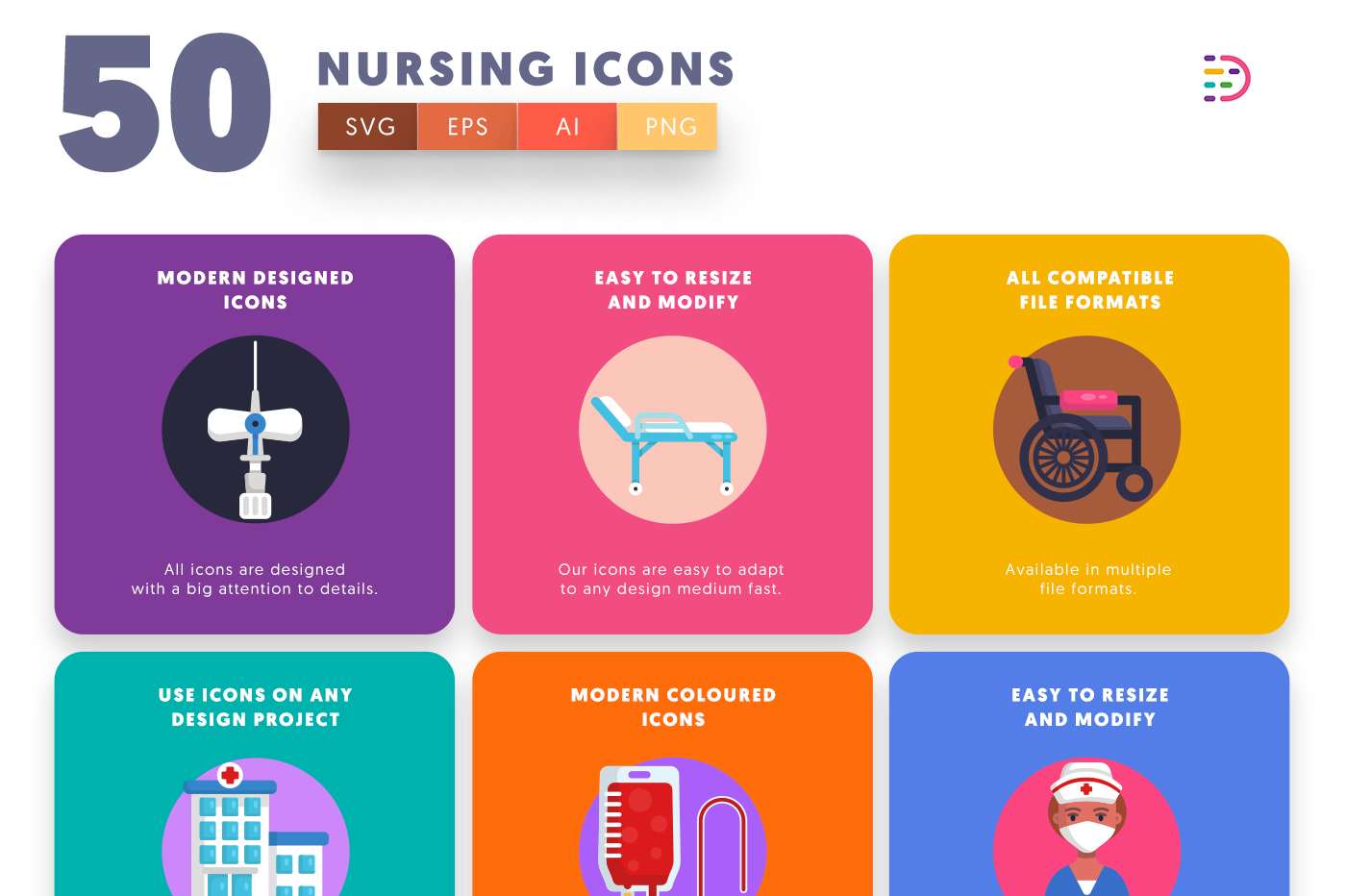 50 Nursing Icons with colored backgrounds
