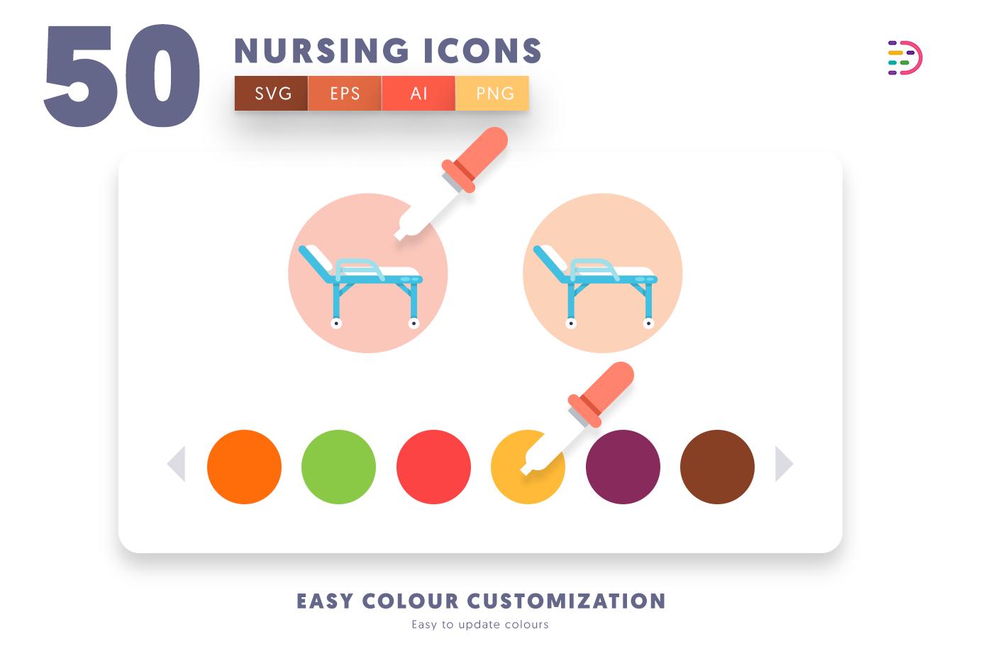 Customizable and vector 50 Nursing Icon