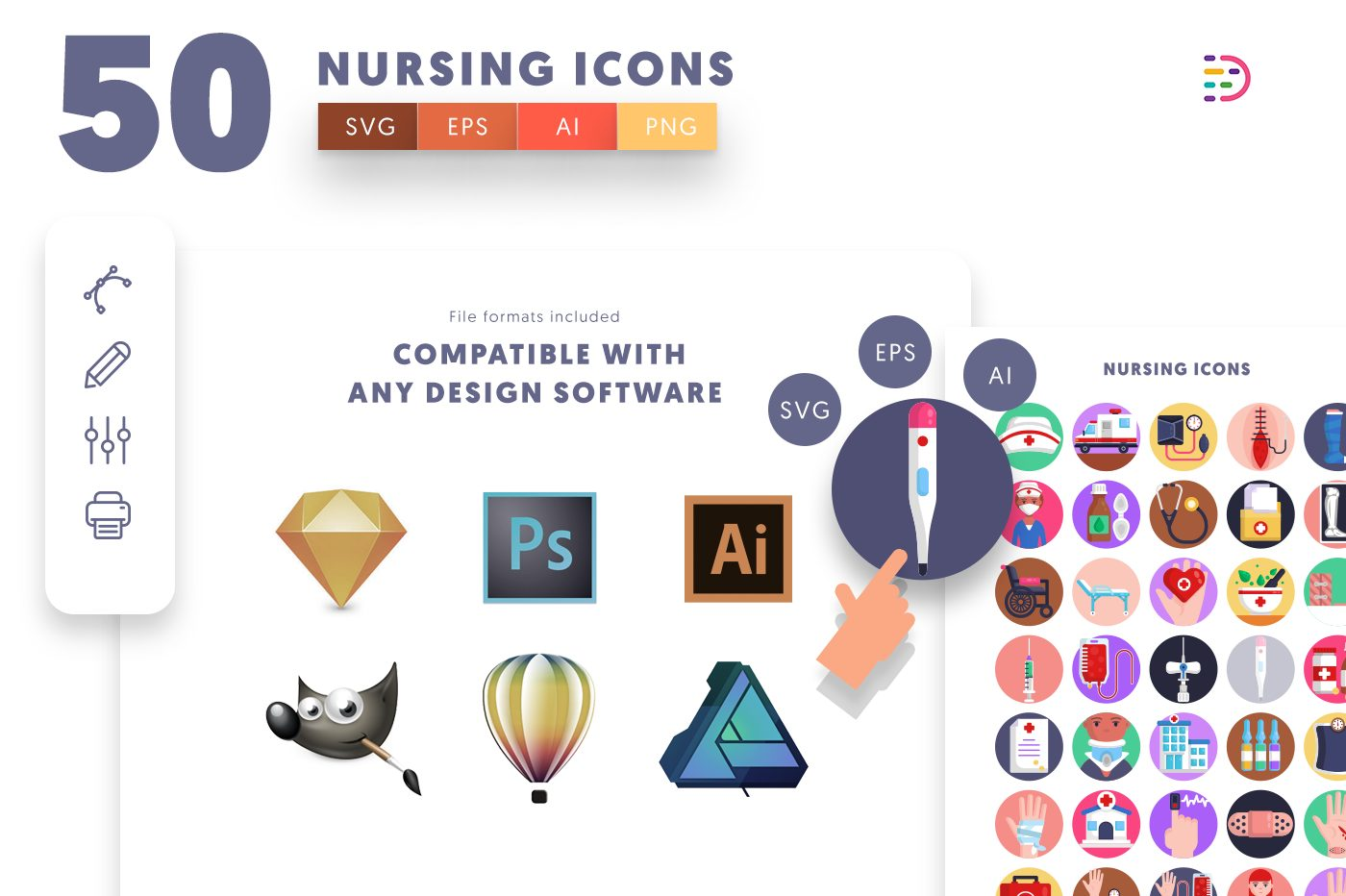 full vector 50 Nursing Icons EPS, SVG, PNG