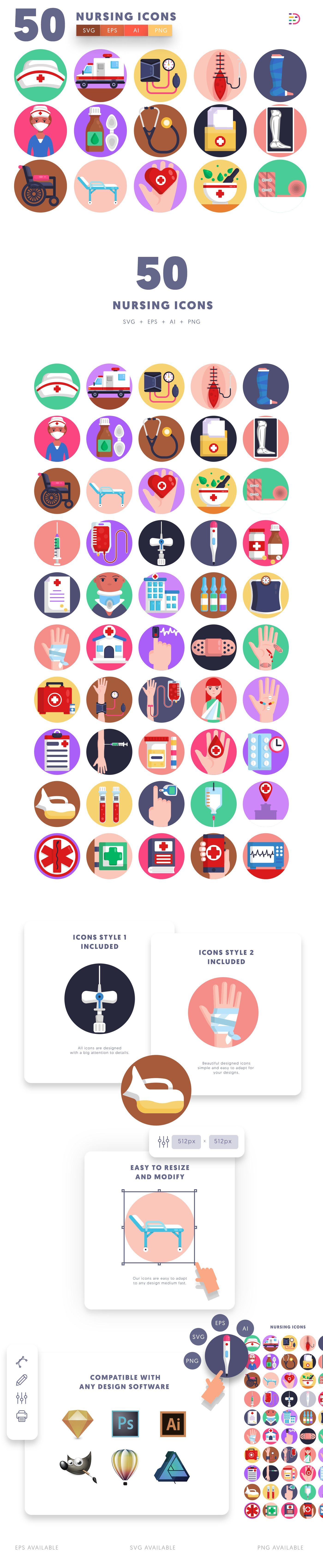Nursing icons info graphic