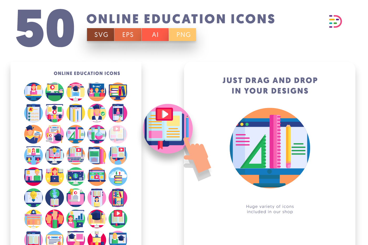 Drag and drop vector 50 Online Education Icons