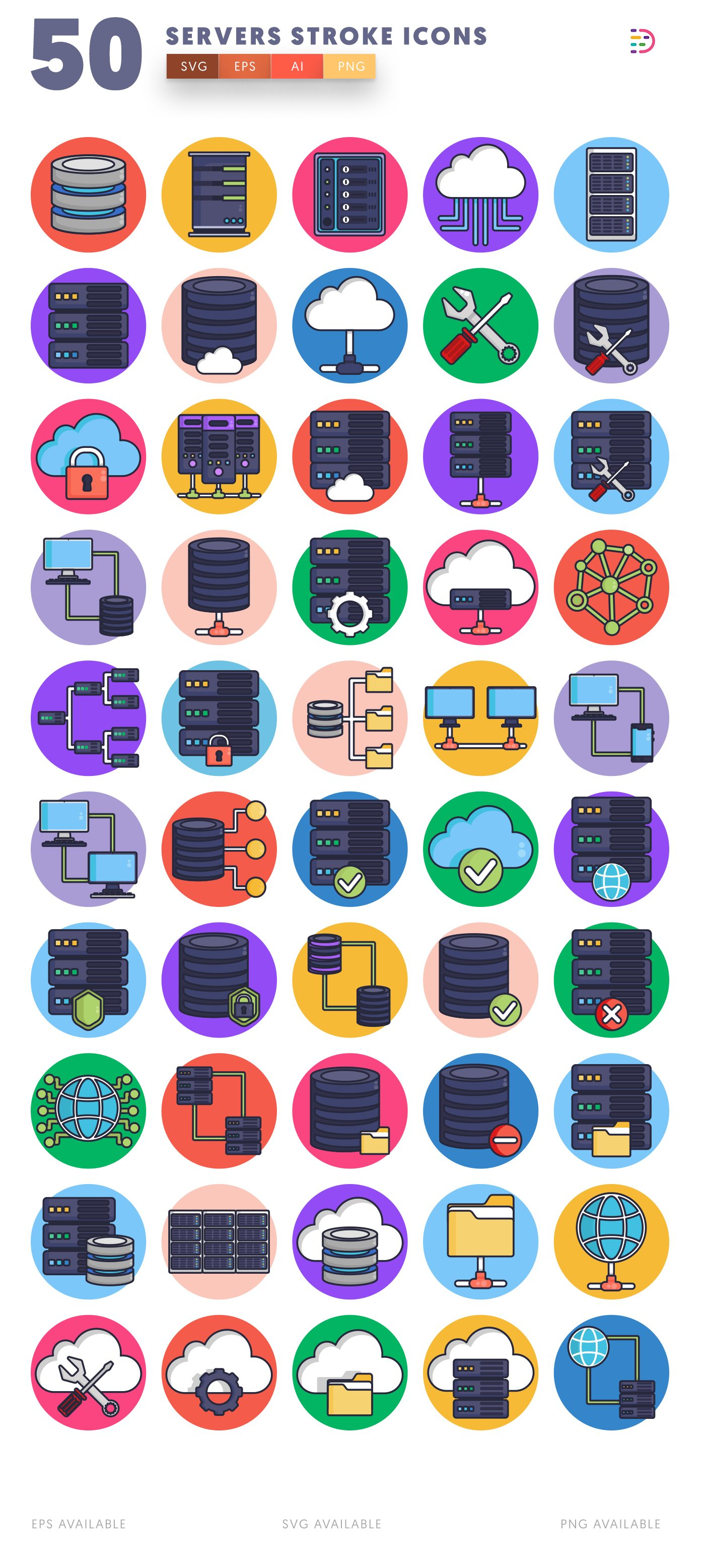 Servers Stroke icon pack
