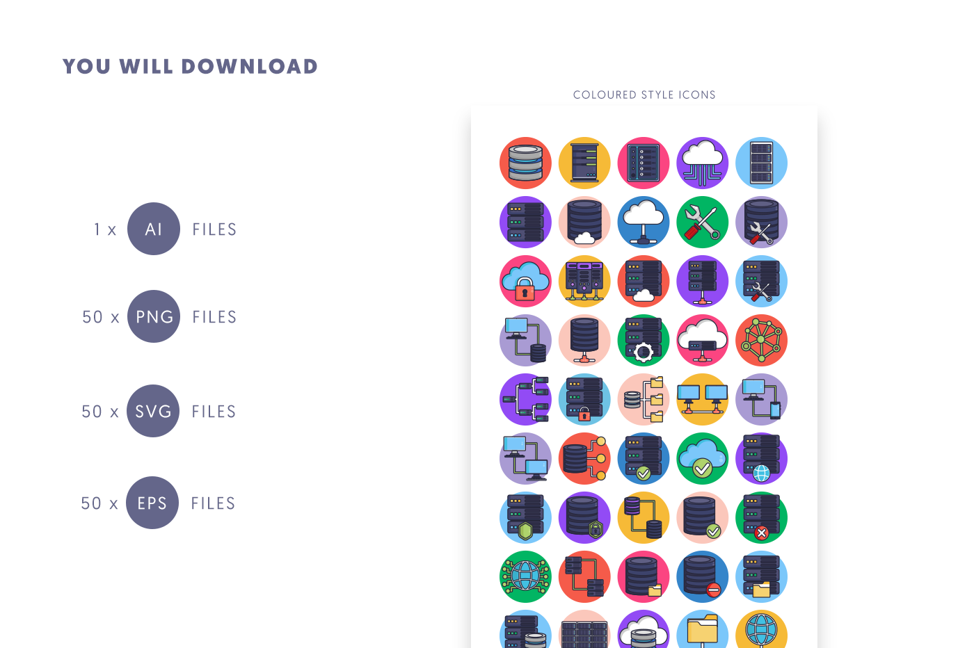Compatible 50 Servers Stroke Icons pack