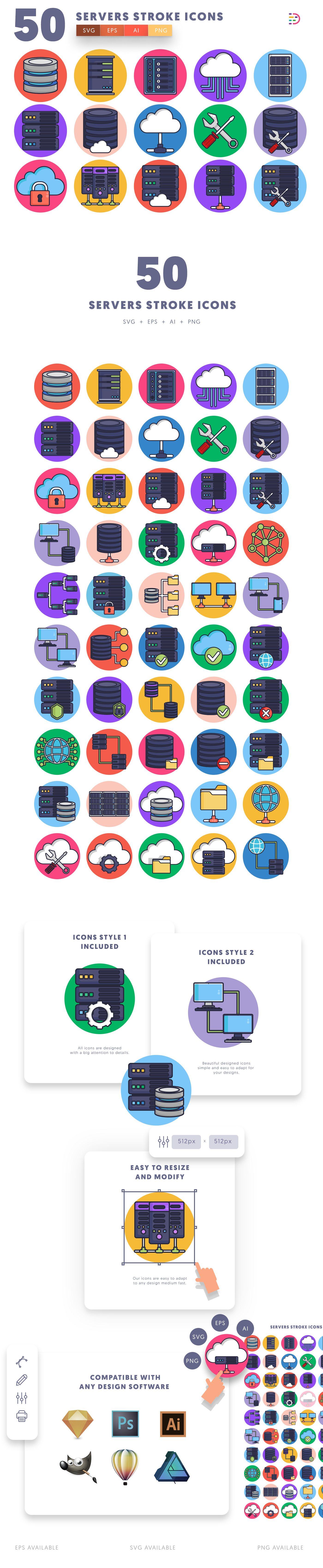 Servers Stroke icons info graphic