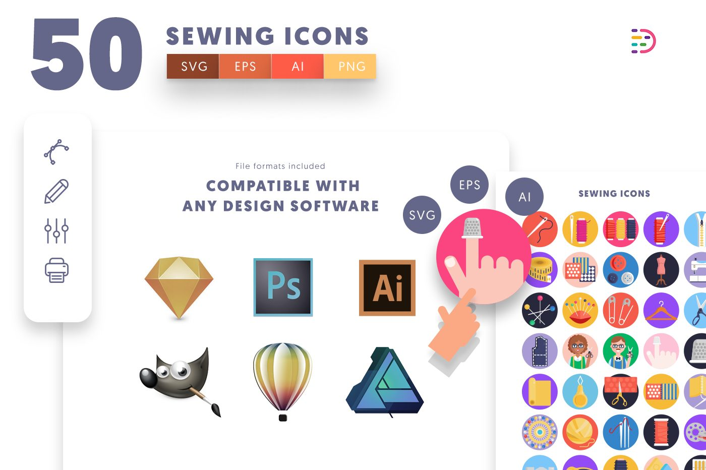 full vector 50 Sewing Icons EPS, SVG, PNG