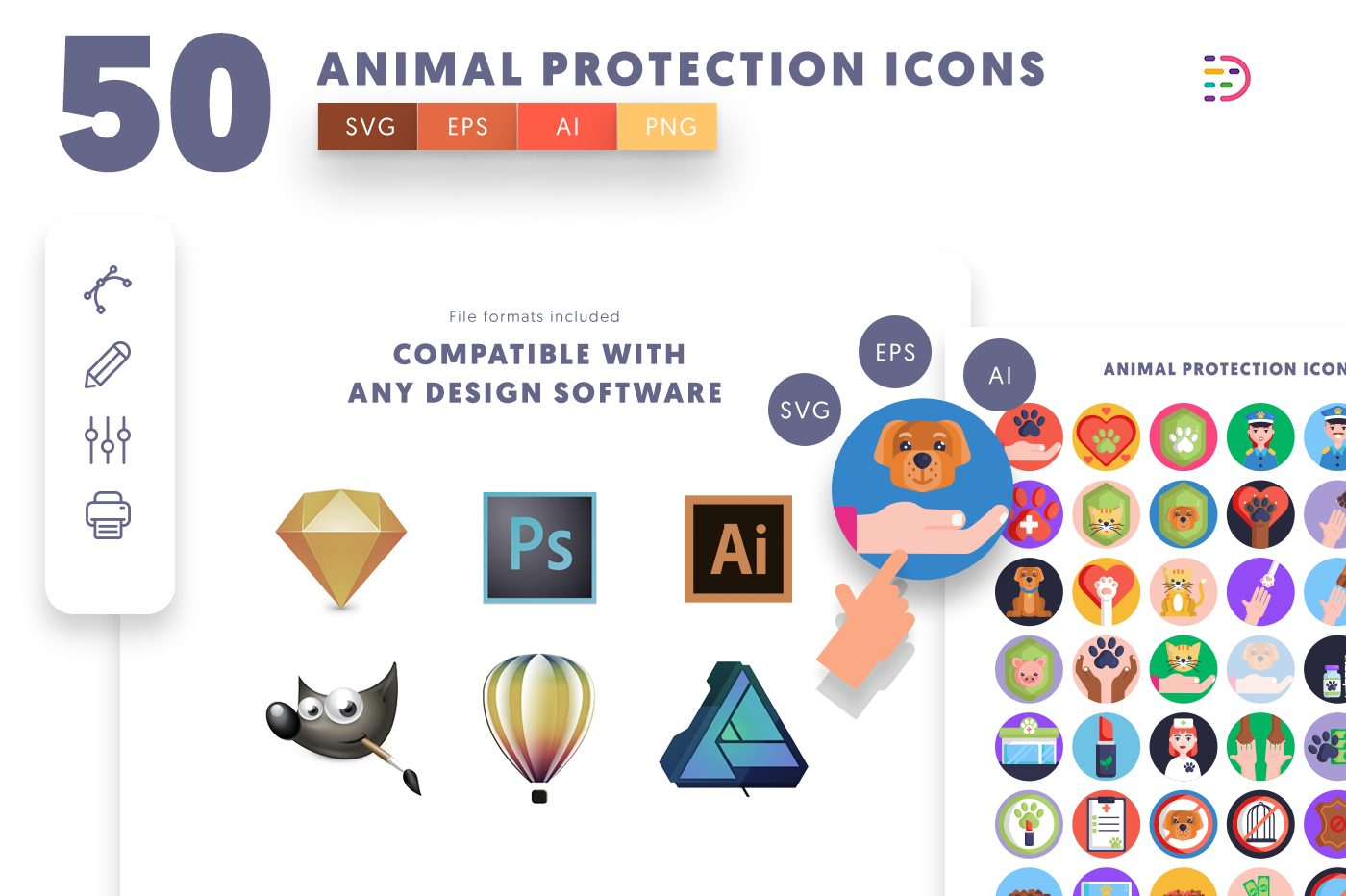 full vector 50 Animal Protection Icons EPS, SVG, PNG