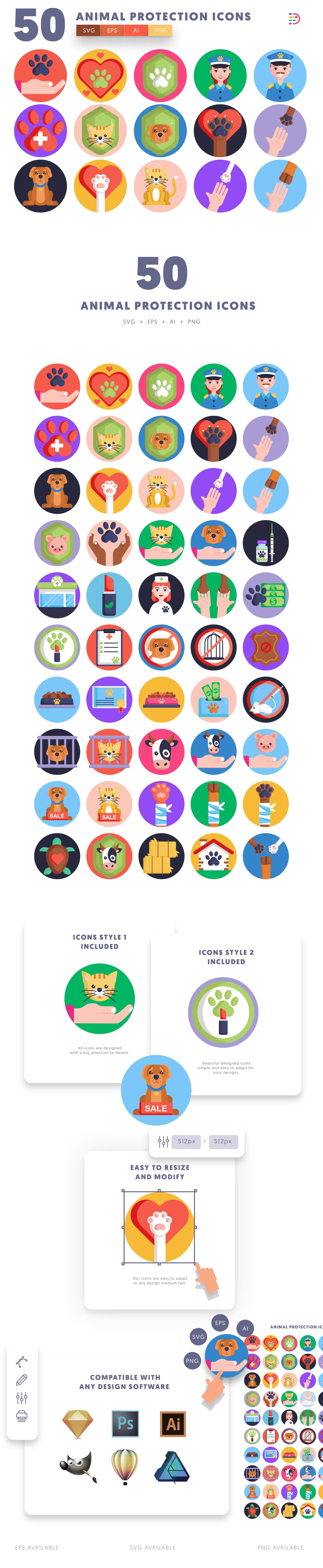 Animal Protection icons info graphic