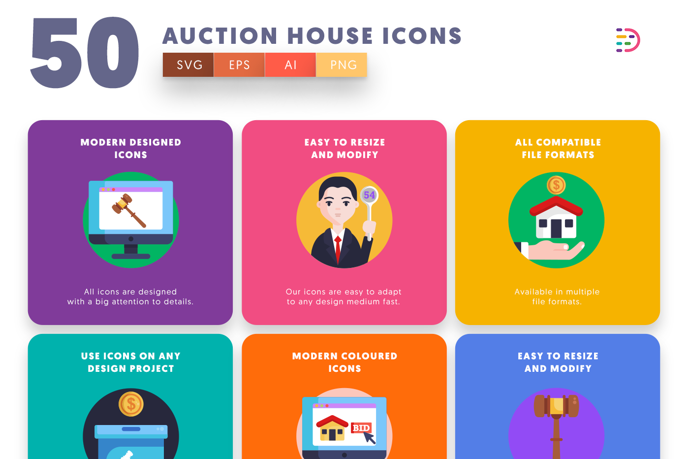 50 Auction House Icons with colored backgrounds
