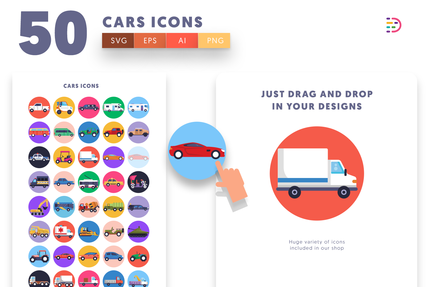 Drag and drop vector 50 Cars Icons