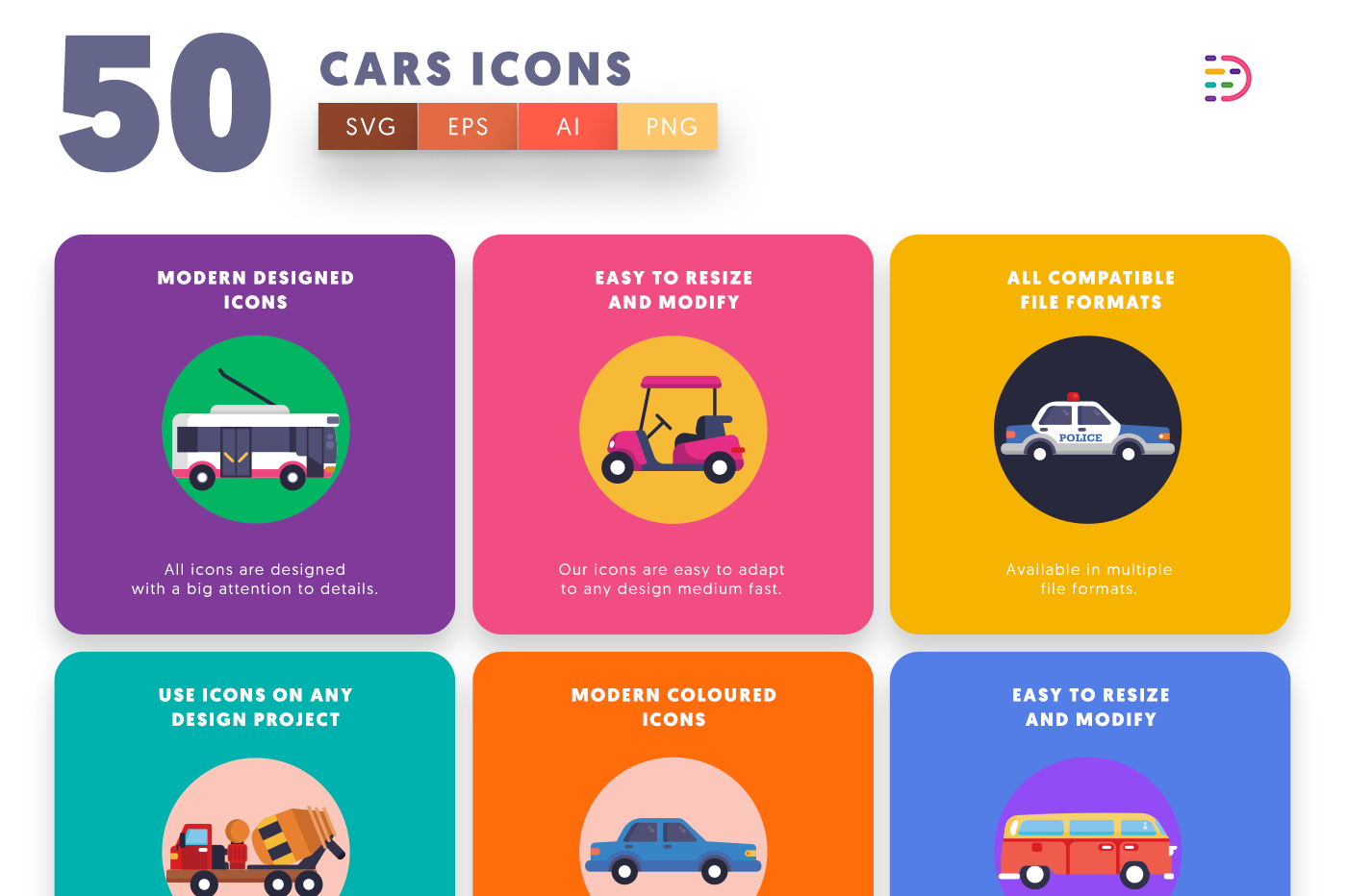 50 Cars Icons with colored backgrounds