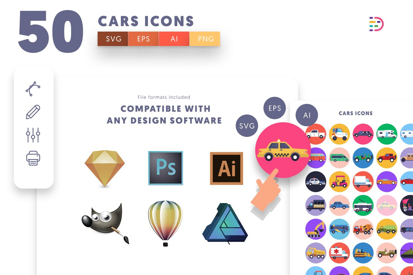 full vector 50 Cars Icons EPS, SVG, PNG