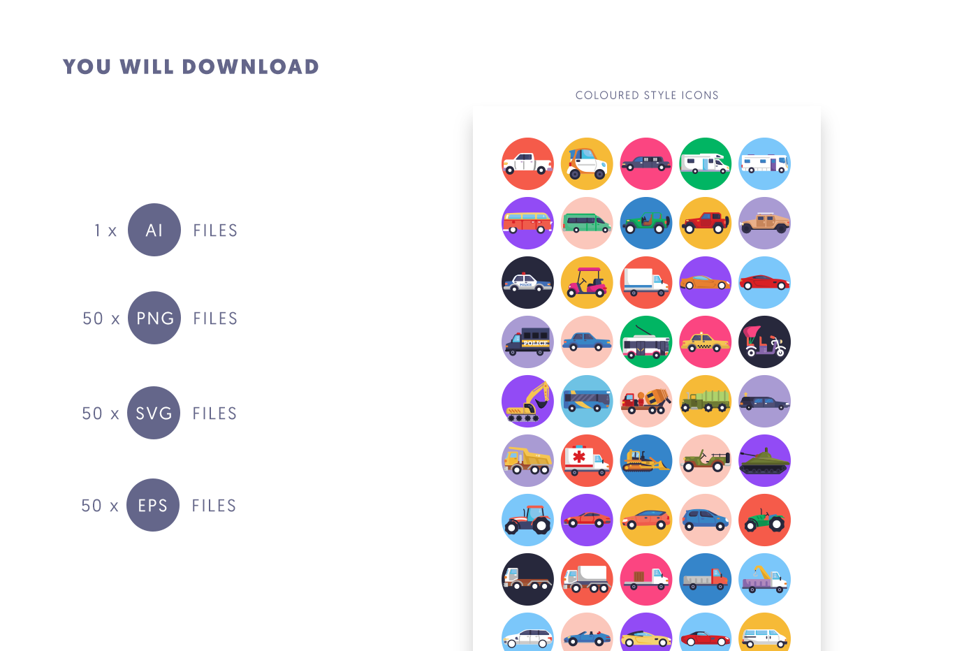 Compatible 50 Cars Icons pack