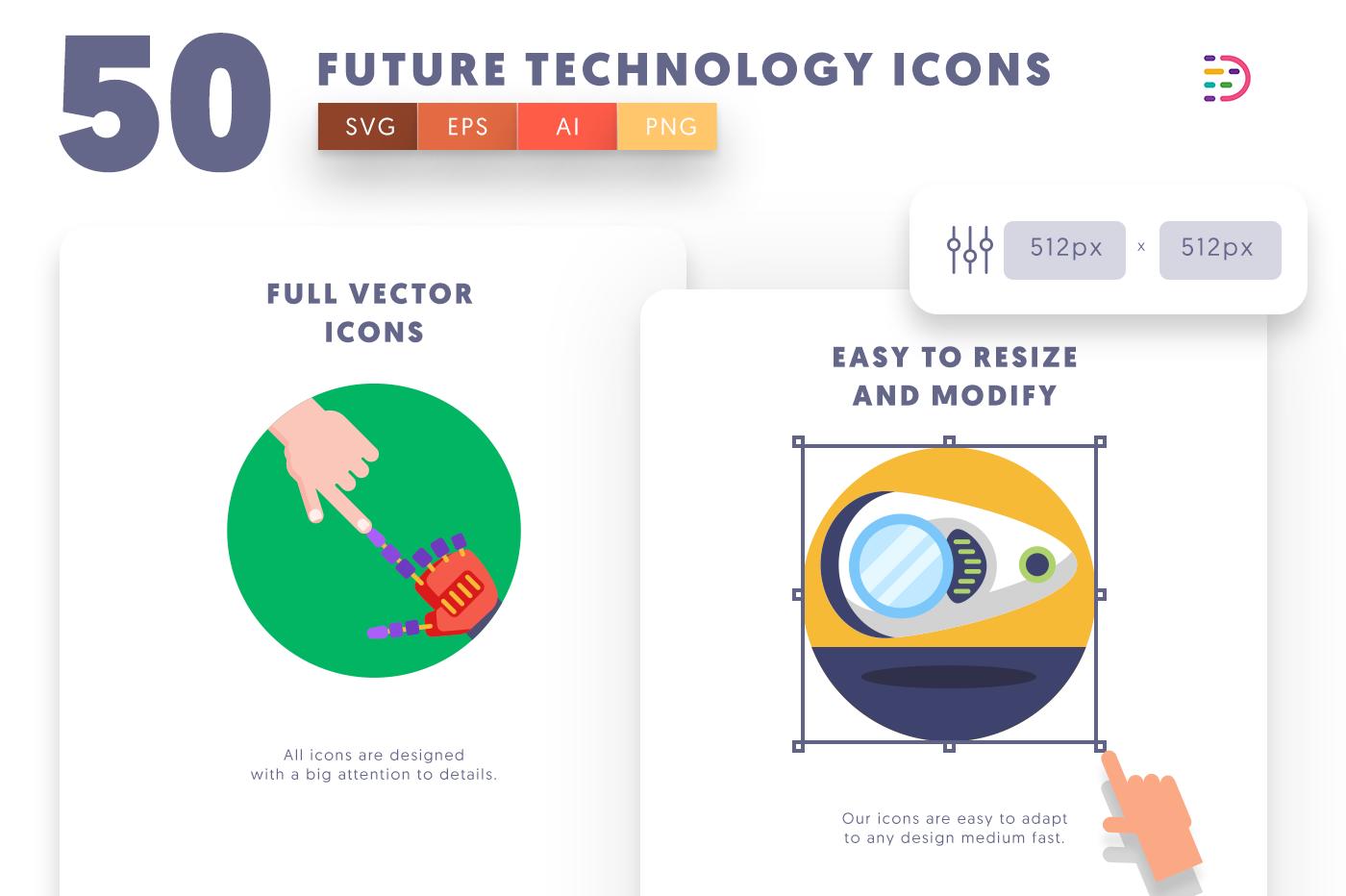 Full vector 50FutureTechnology Icons