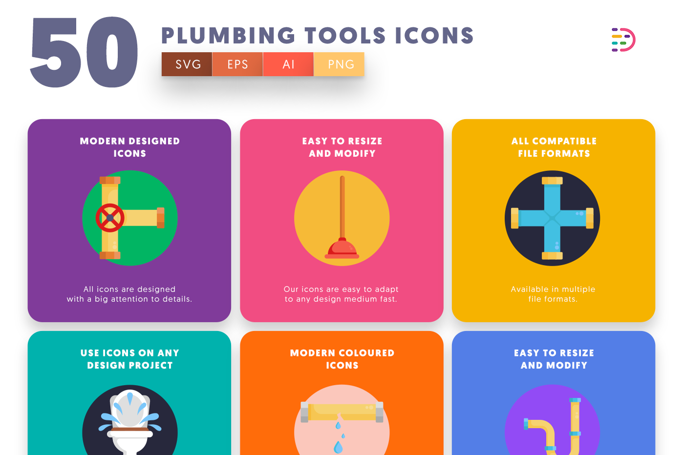 50 Plumbing Tools Icons with colored backgrounds
