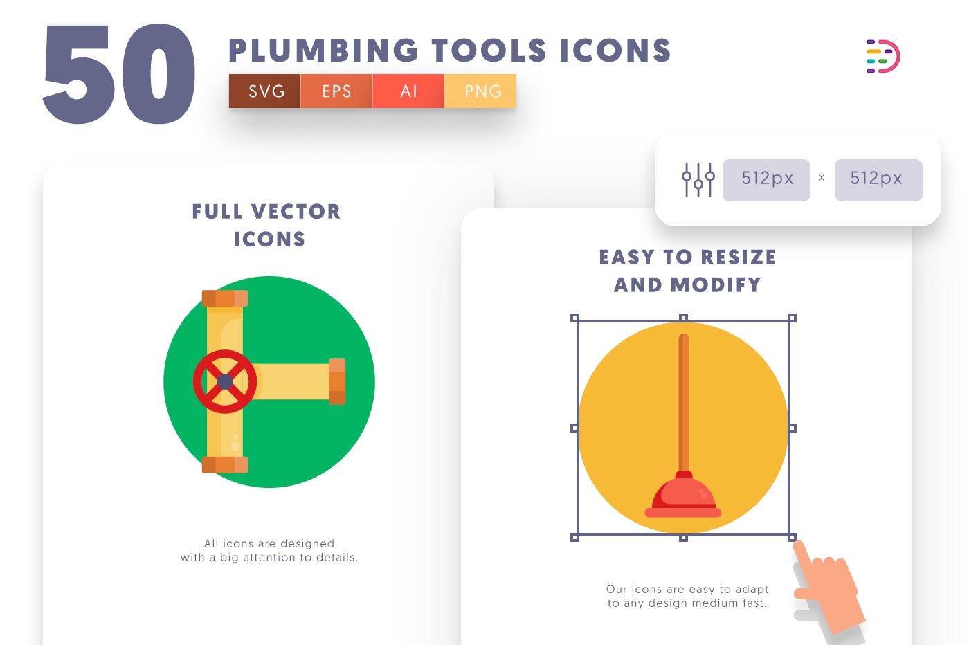 Full vector 50PlumbingTools Icons