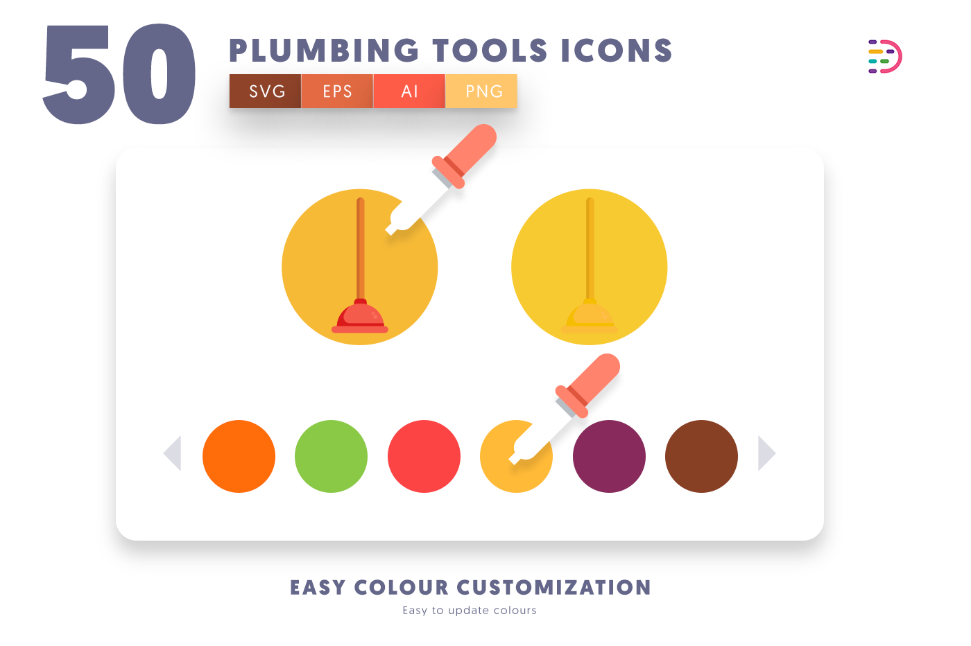 Customizable and vector 50 Plumbing Tools Icons