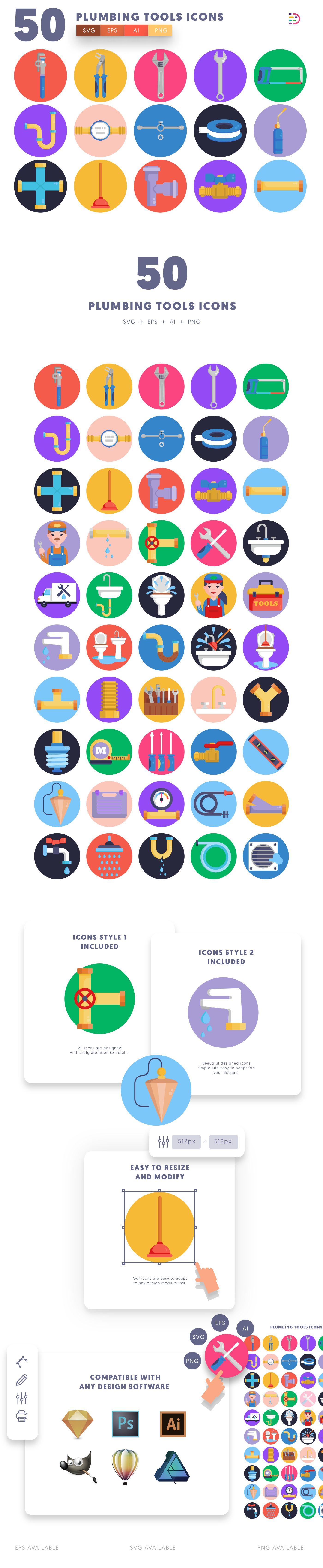 Plumbing Tools icons info graphic