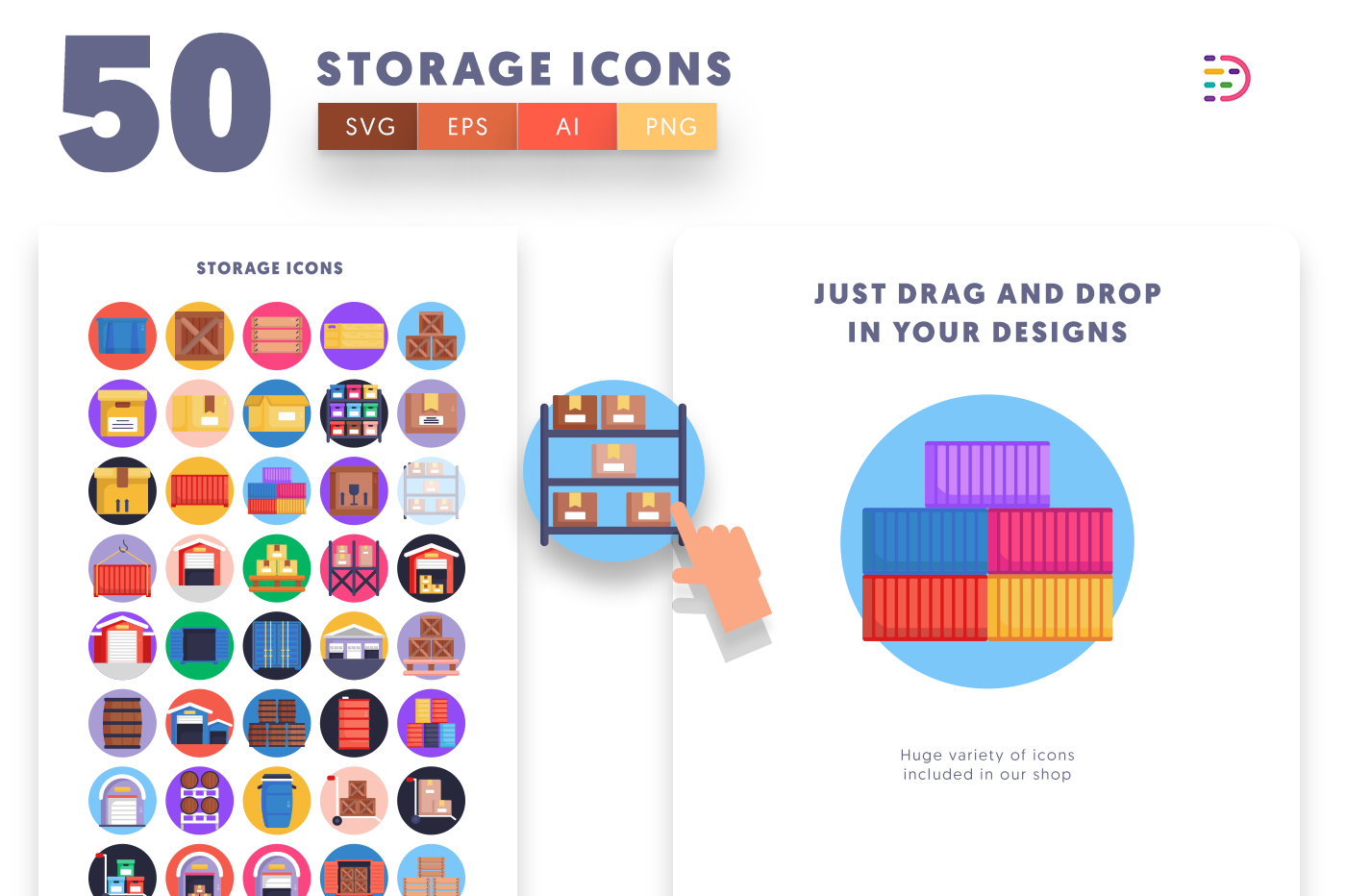 Drag and drop vector 50 Storage Icons