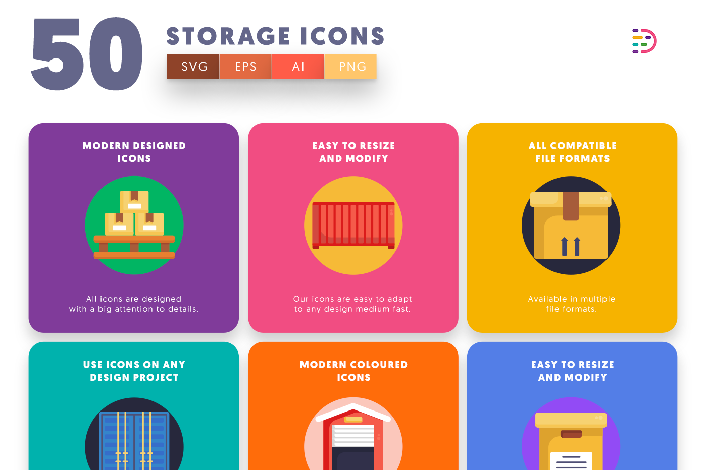 50 Storage Icons with colored backgrounds
