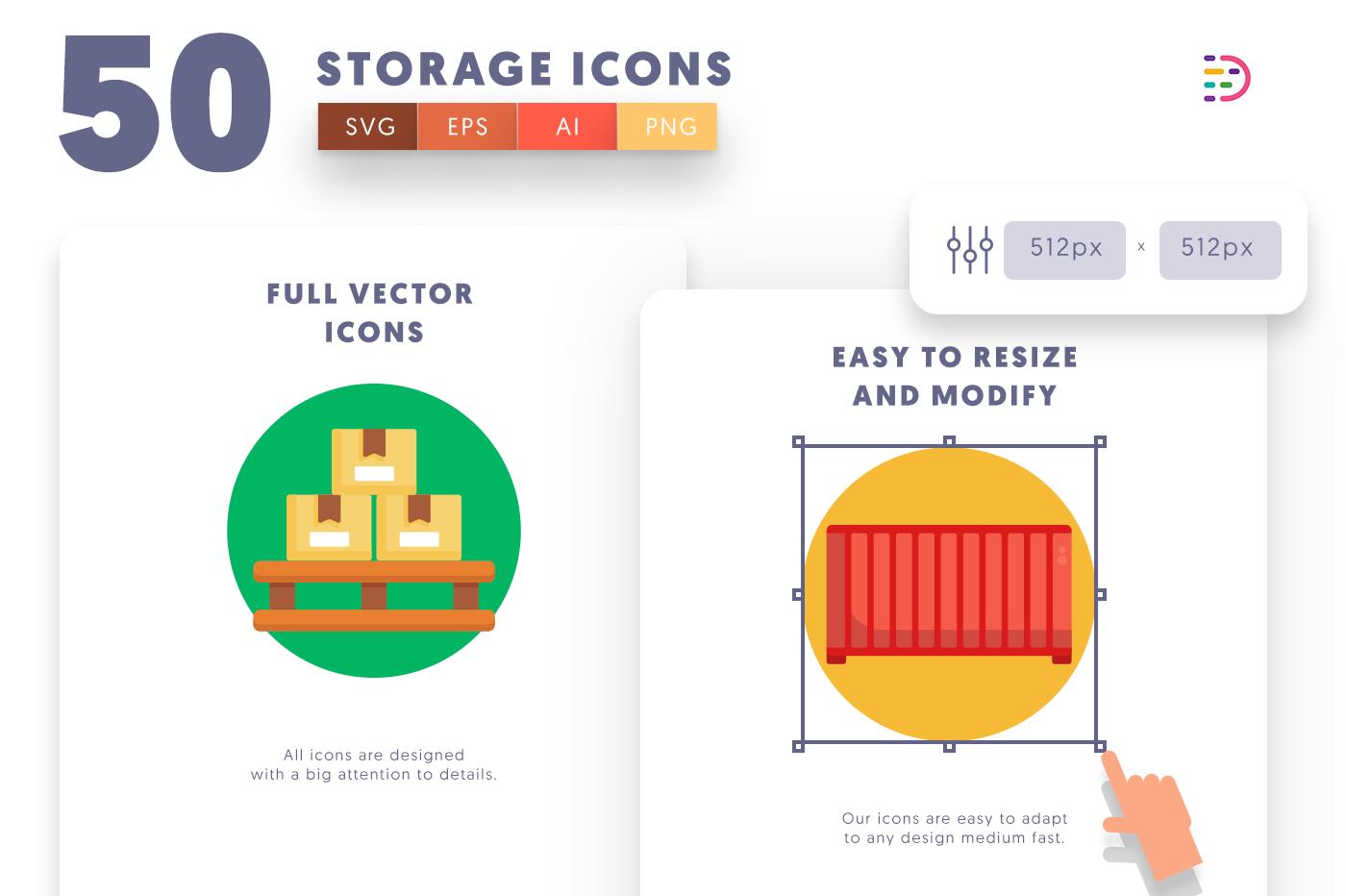 Full vector 50Storage Icons
